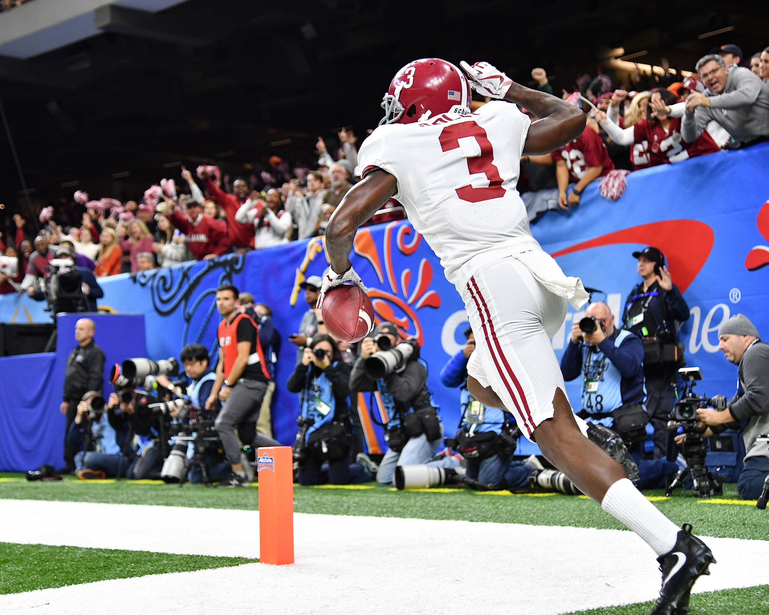 Alabama Crimson Tide wide receiver Calvin Ridley (3) celebrates his touchdown catch in the first quarter of the 2018 AllState Sugar Bowl on Jan. 1, 2018, at the Mercedes-Benz SuperDome in New Orleans, La. Alabama won the game 24-6. (Photo by Lee Walls)