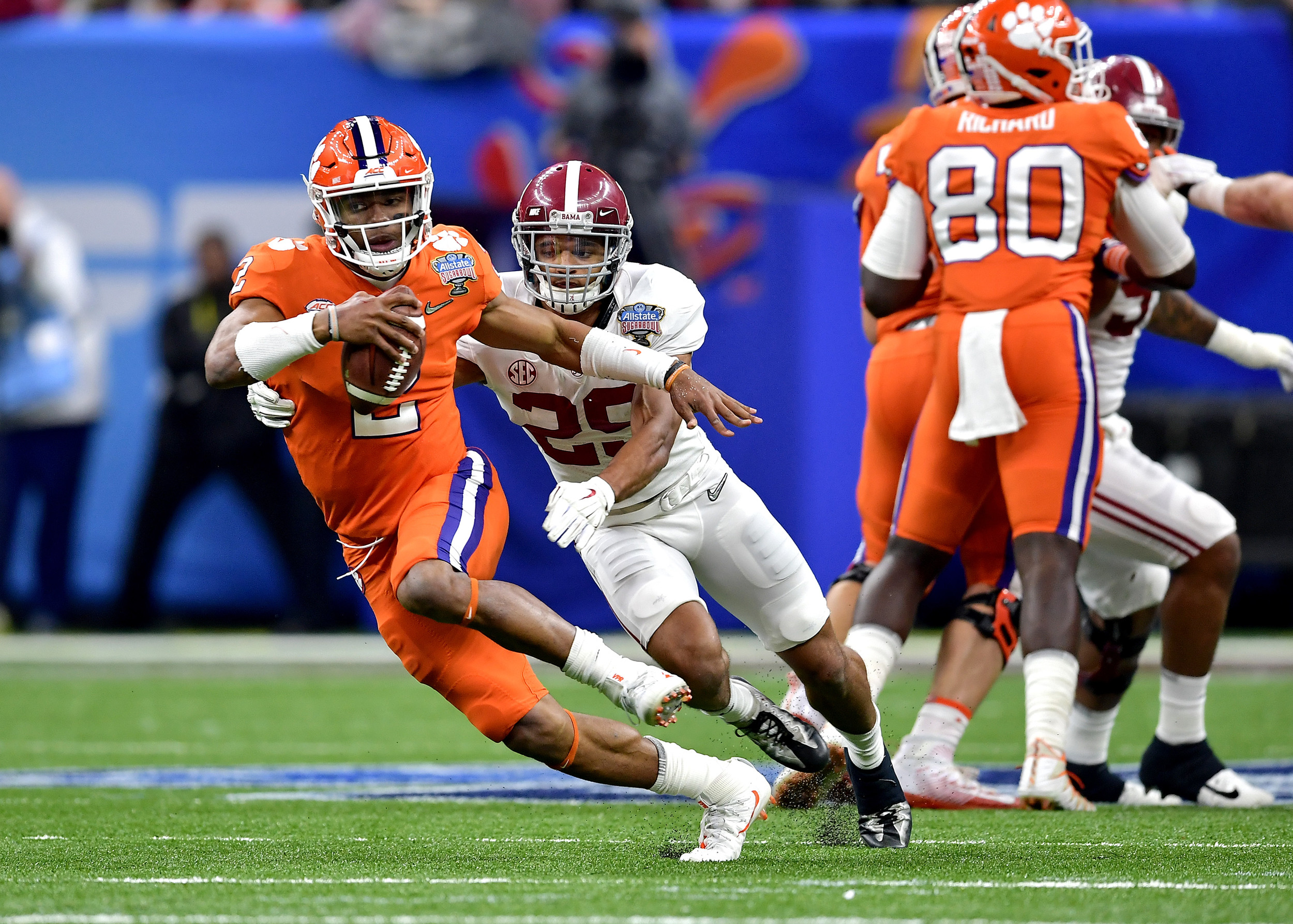 Clemson Tigers quarterback Kelly Bryant (2) scrambles under pressure from Alabama Crimson Tide defensive back Minkah Fitzpatrick (29) in the first half of the 2018 AllState Sugar Bowl on Jan. 1, 2018, at the Mercedes-Benz SuperDome in New Orleans, La. Alabama won the game 24-6. (Photo by Lee Walls)
