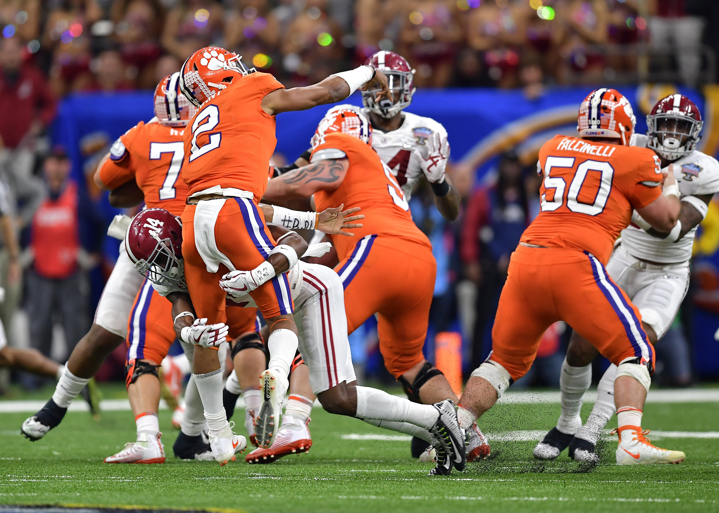 Alabama Crimson Tide defensive back Deionte Thompson (14) puts pressure on the Clemson quarterback during the first half of the 2018 AllState Sugar Bowl on Jan. 1, 2018, at the Mercedes-Benz SuperDome in New Orleans, La. Alabama won the game 24-6. (Photo by Lee Walls)