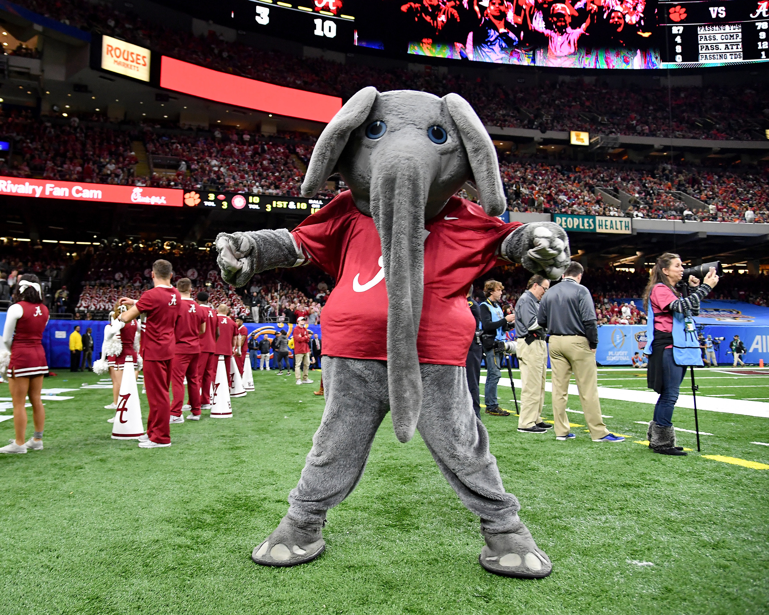 From the first half of the 2018 AllState Sugar Bowl featuring the Clemson Tigers against the Alabama Crimson Tide on Jan. 1, 2018, at the Mercedes-Benz SuperDome in New Orleans, La. Alabama won the game 24-6. (Photo by Lee Walls)