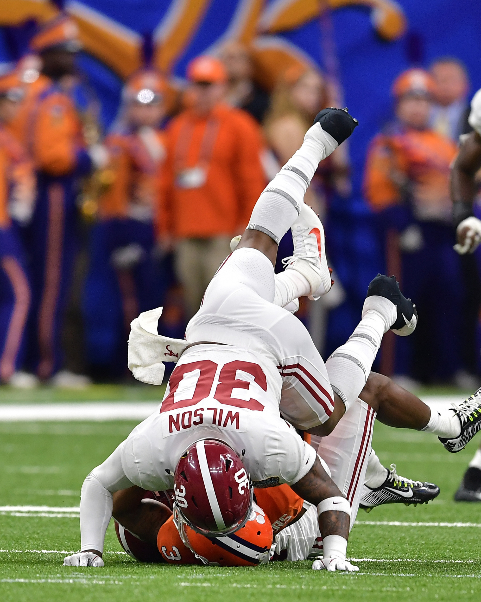 Alabama Crimson Tide linebacker Mack Wilson (30) with a stop in the first half of the 2018 AllState Sugar Bowl on Jan. 1, 2018, at the Mercedes-Benz SuperDome in New Orleans, La. Alabama won the game 24-6. (Photo by Lee Walls)