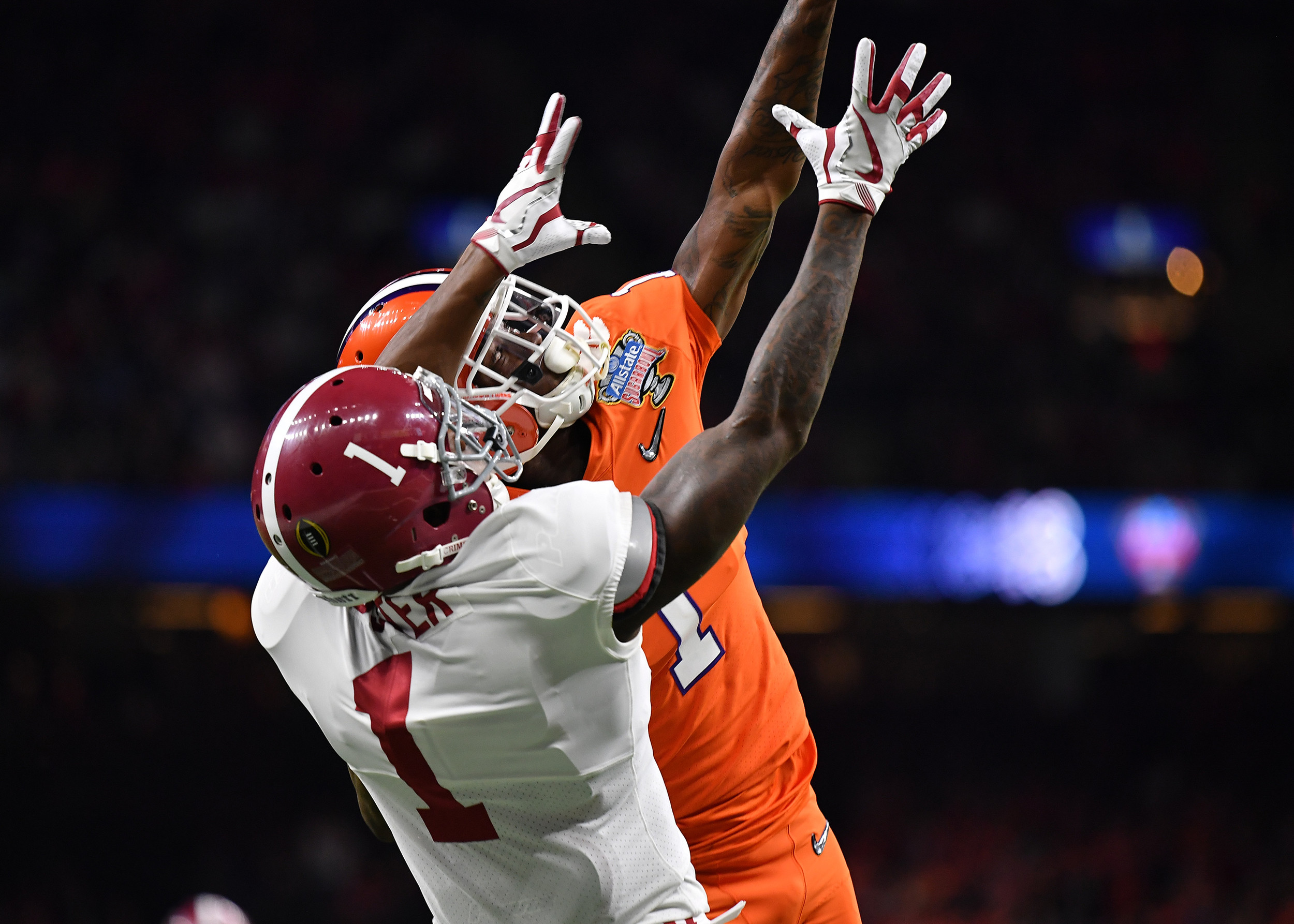 Alabama Crimson Tide wide receiver Robert Foster (1) goes up for a catch in the first half of the 2018 AllState Sugar Bowl on Jan. 1, 2018, at the Mercedes-Benz SuperDome in New Orleans, La. Alabama won the game 24-6. (Photo by Lee Walls)