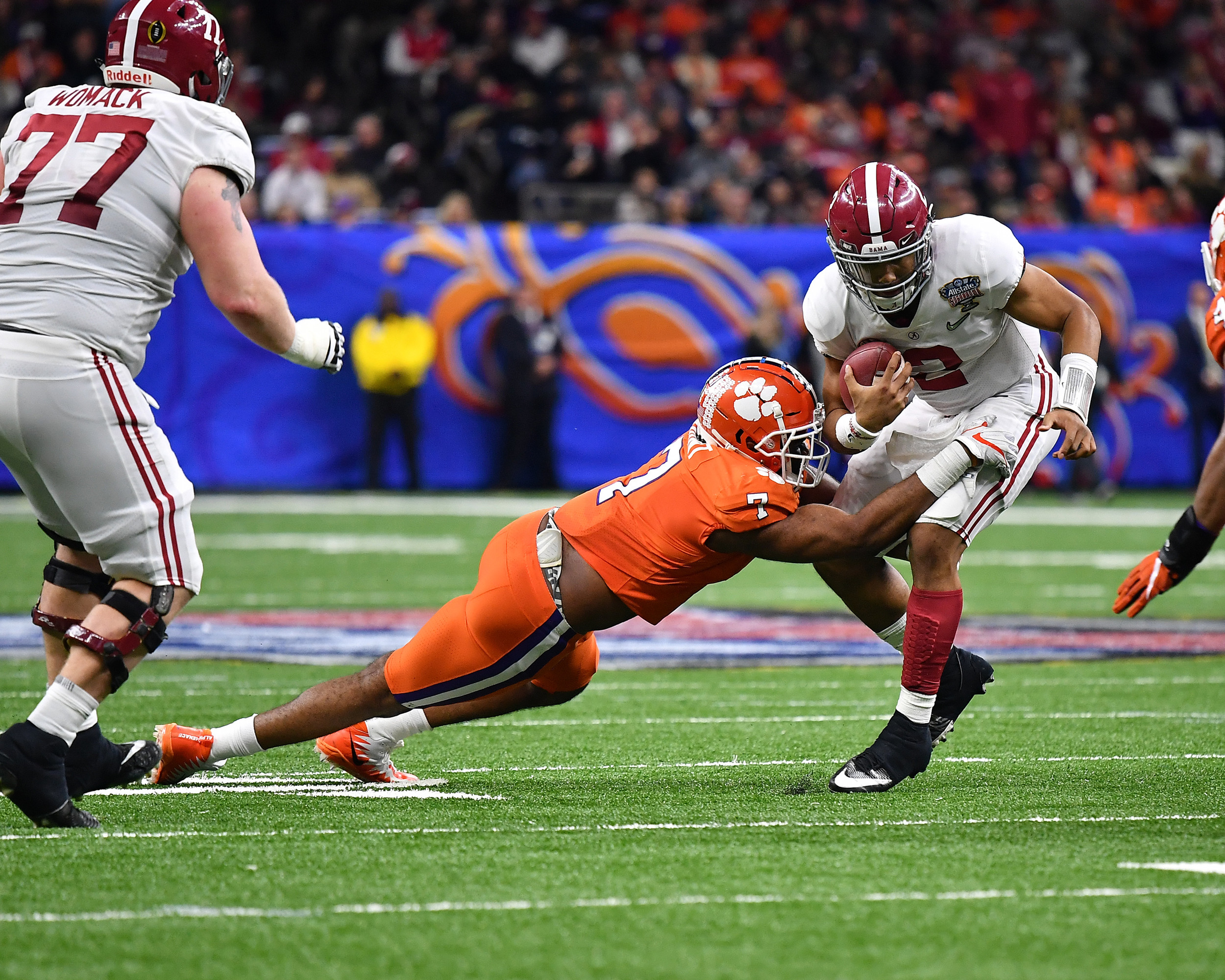 Alabama Crimson Tide quarterback Jalen Hurts (2) is tackled in the second quarter of the 2018 AllState Sugar Bowl on Jan. 1, 2018, at the Mercedes-Benz SuperDome in New Orleans, La. Alabama won the game 24-6. (Photo by Lee Walls)