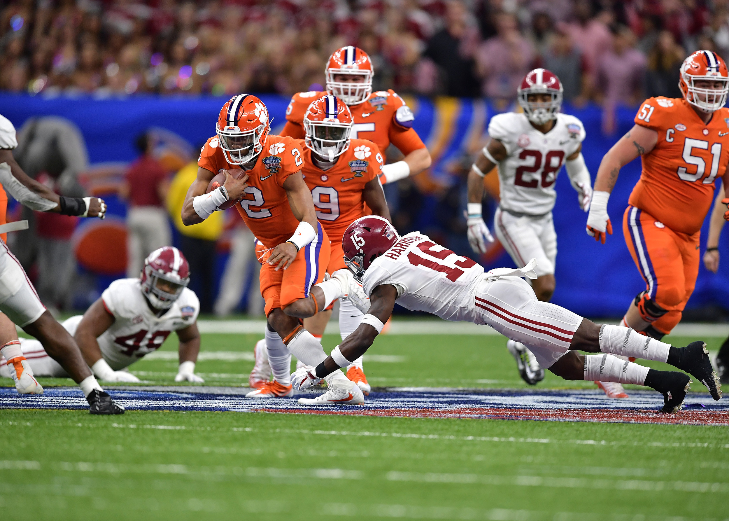 Clemson Tigers quarterback Kelly Bryant (2) tries to avoid another sack in the second half of the 2018 AllState Sugar Bowl on Jan. 1, 2018, at the Mercedes-Benz SuperDome in New Orleans, La. Alabama won the game 24-6. (Photo by Lee Walls)