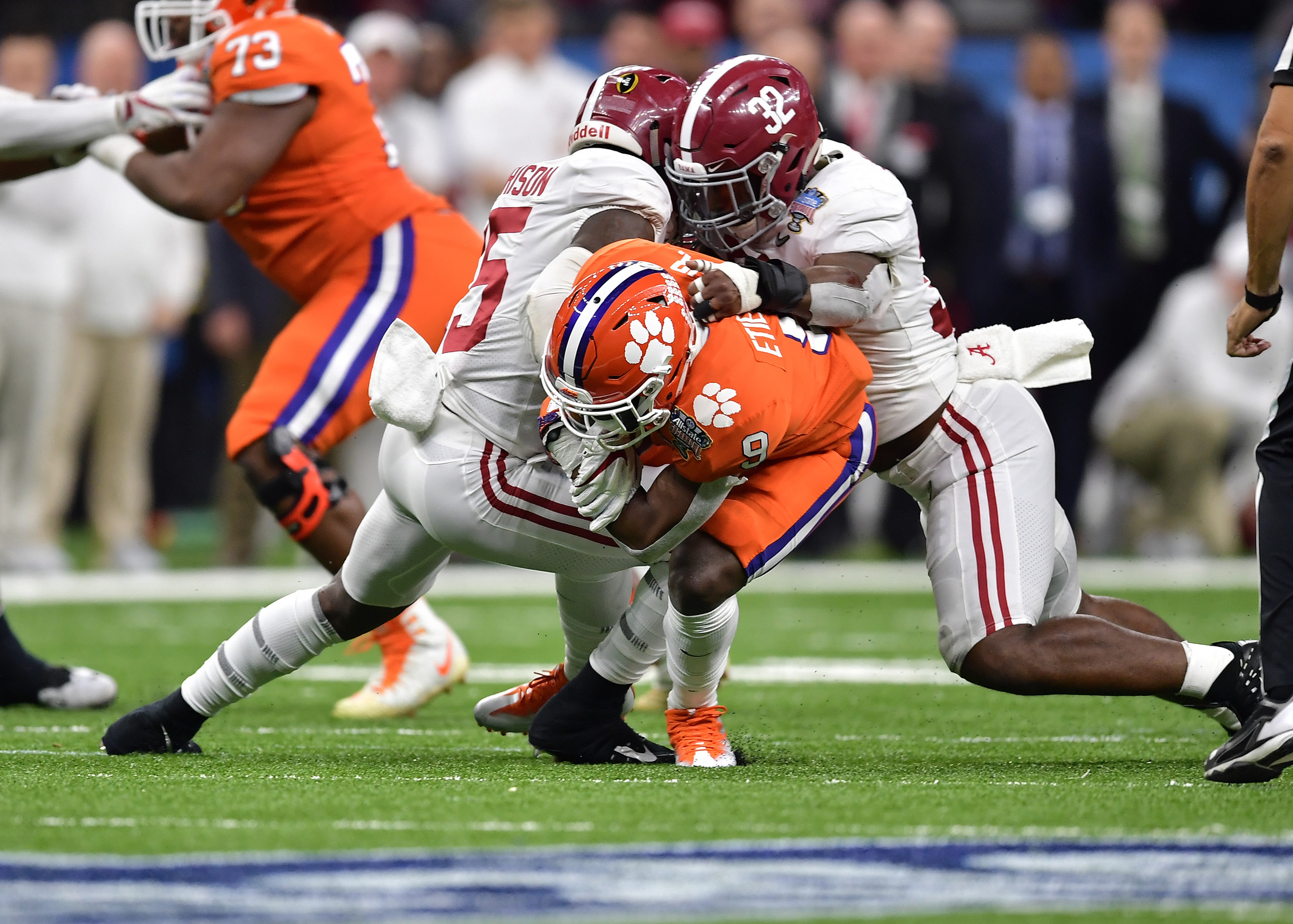 Clemson Tigers quarterback Kelly Bryant (2) is sacked in the second half of the 2018 AllState Sugar Bowl on Jan. 1, 2018, at the Mercedes-Benz SuperDome in New Orleans, La. Alabama won the game 24-6. (Photo by Lee Walls)