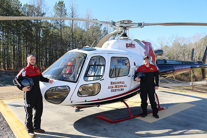 Nathan Moore and Steven Blackmon, both of Jasper, are flight medics with the new Regional Air Services Inc. in Jasper.