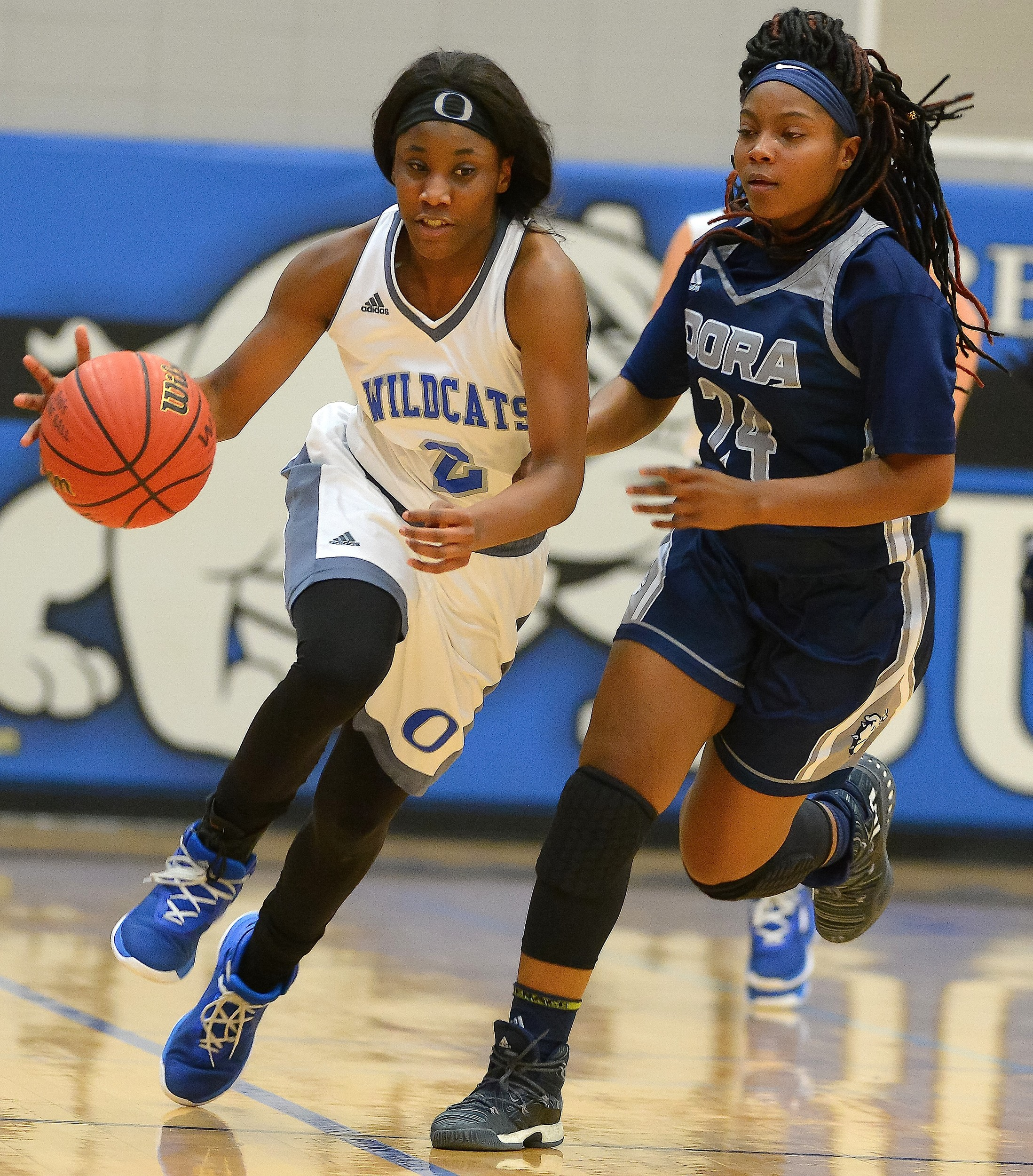 Oakman's Iyana Canada (2) brings the ball up the court as Dora's Deja Pendleton (24) defends during the championship game of the Walker County Basketball Tournament on Saturday. Oakman won 46-36 for their first county title since 2004.