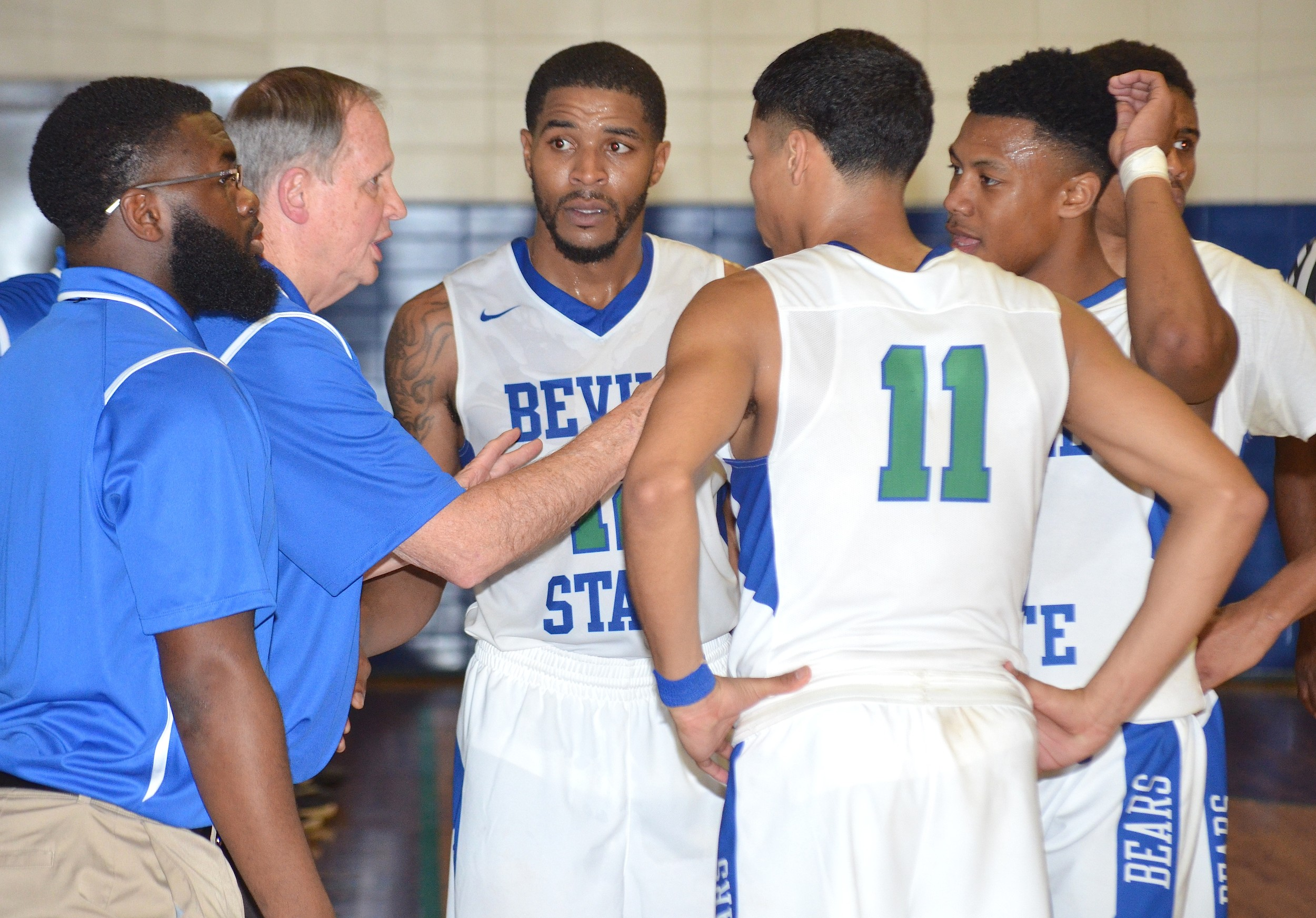 Bevill State coach Tommy Suitts talks to his team during a timeout in Monday's game against Lawson State. The Bears earned a 66-63 victory.