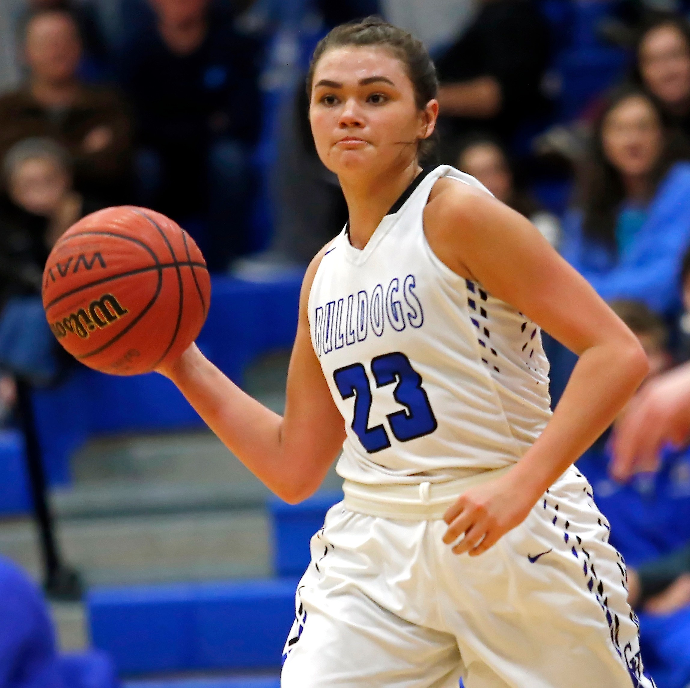 Carbon Hill's Molly Kate Atkins had 13 points, five assists and four steals in the Bulldogs' 41-37 win over Oakman in the 3A, Area 12 Tournament on Monday.
