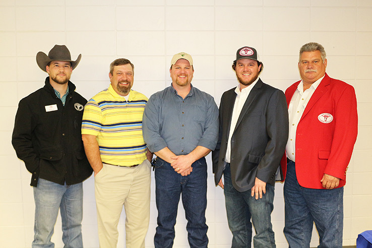 The Walker County Cattlemen's Association announced its slate of officers for 2018 during the Association's annual banquet held Feb. 10 at Bevill State Community College in Sumiton. Officers are, second from left, WCCA Treasurer Jud Aldridge; WCCA Vice President Billy Elswick; and WCCA President Tyler McClendon. Also pictured is Michael Agar, the ACA's Director of Industrial Relations and Youth Programs, far left, and Jay Buckley, the Regional Vice President for Marion, Winston, Lamar, Fayette, Walker and Pickens counties, far right. Not shown in Grant Nichols, secretary.