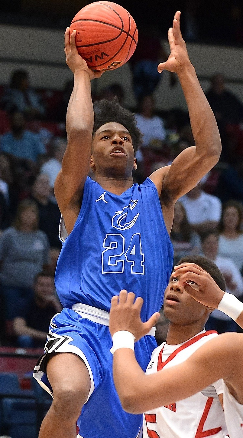 Cordova's Isaac Chatman shoots during the Blue Devils' Class 4A state semifinal against Andalusia on Tuesday. Cordova battles Madison Academy in the state championship game at 5:45 p.m. today at the BJCC.