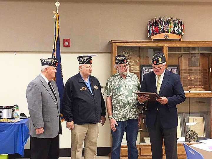 Jasper Mayor David O'Mary, at right, who is also a member of the American Legion Woods-Smith Post 9, presented the members of Post 9 with a special proclamation during last year's anniversary celebration. The proclamation was presented during a special ceremony held by the Post to recognize the four chaplains who sacrificed their lives to save the lives of other during the sinking of the troopship, the USAT Dorchester. Accepting the proclamation on behalf of the Post from left to right are Chaplain Larry Stewart, Adjutant Jay Snow and Deputy Commander Gary Hallmark.