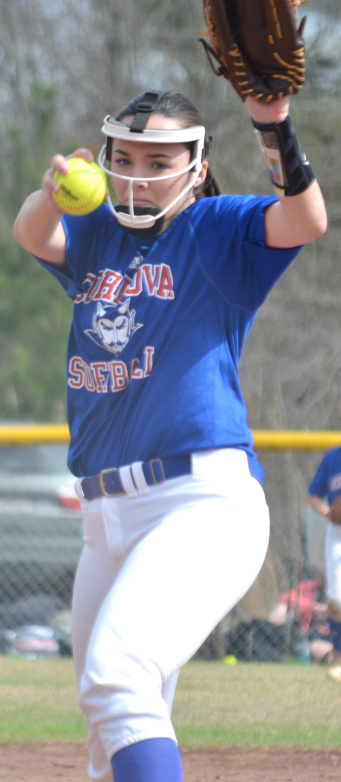 Cordova's Raven Clark got the win in the circle for the Blue Devils against Sumiton Christian on Tuesday.