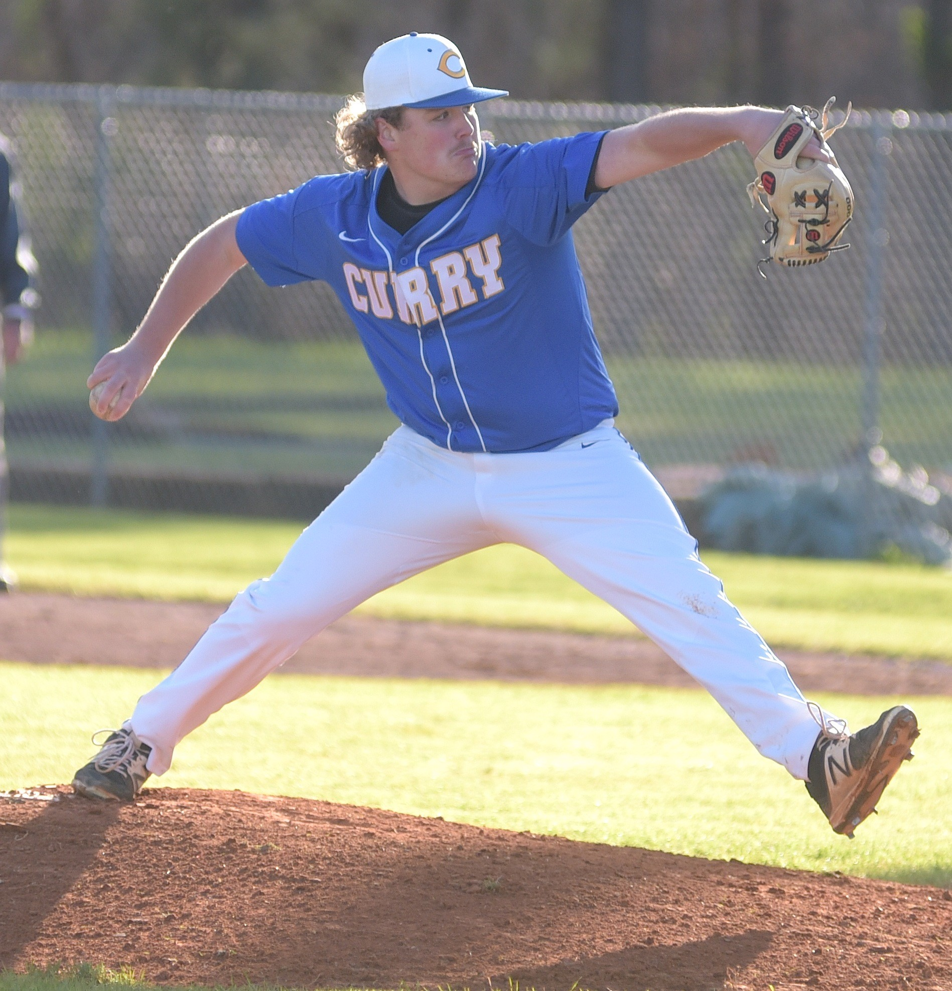 Curry's Hunter Bates throws a pitch against Cordova during their game in the Walker County Baseball Tournament at Curry High School on Tuesday. Curry advanced to Thursday's championship game with a 17-8 victory.