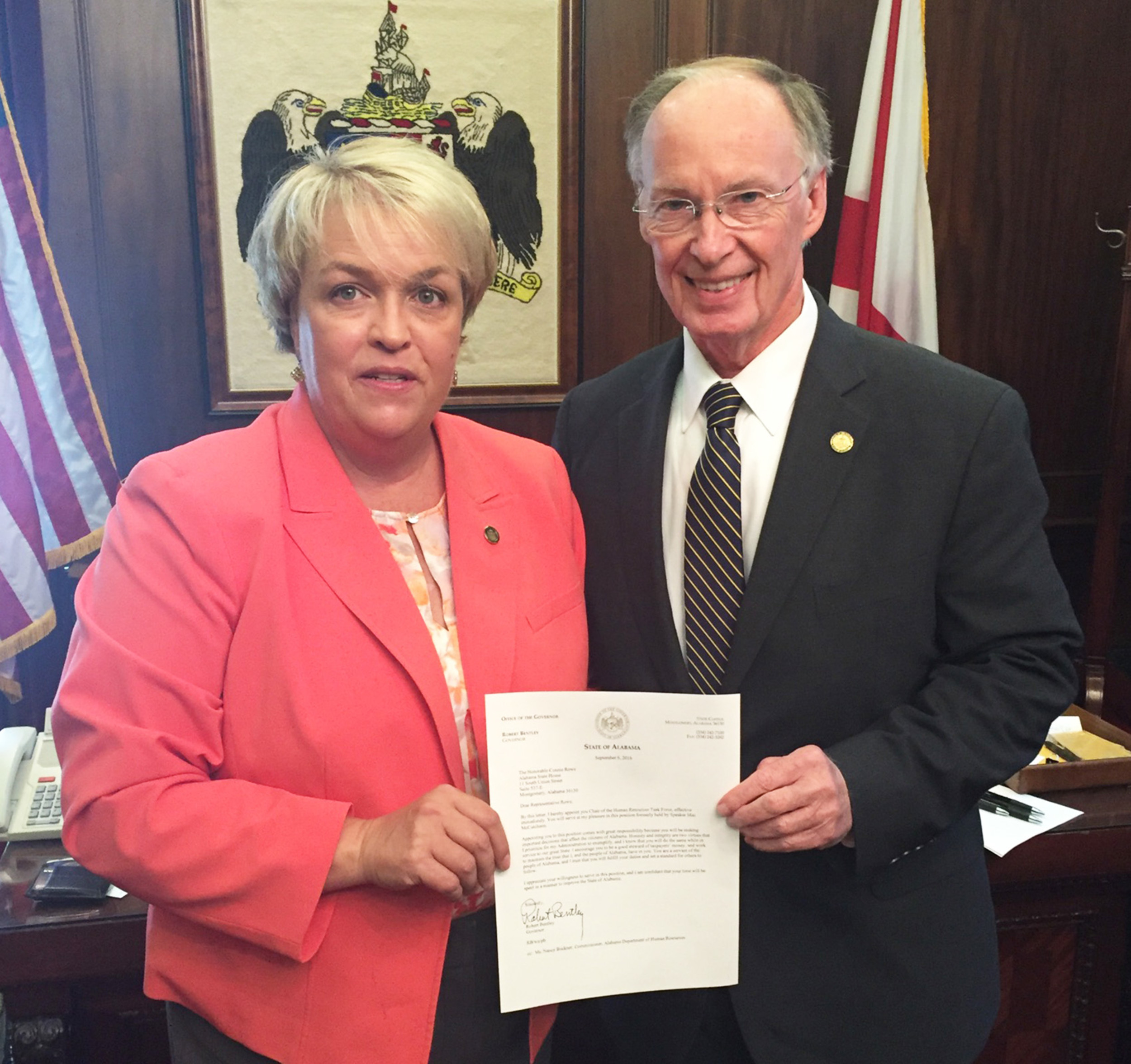Gov. Robert Bentley recently appointed Rep. Connie Rowe of Jasper to chair the Human Resources Task Force.  –  Special to the Eagle