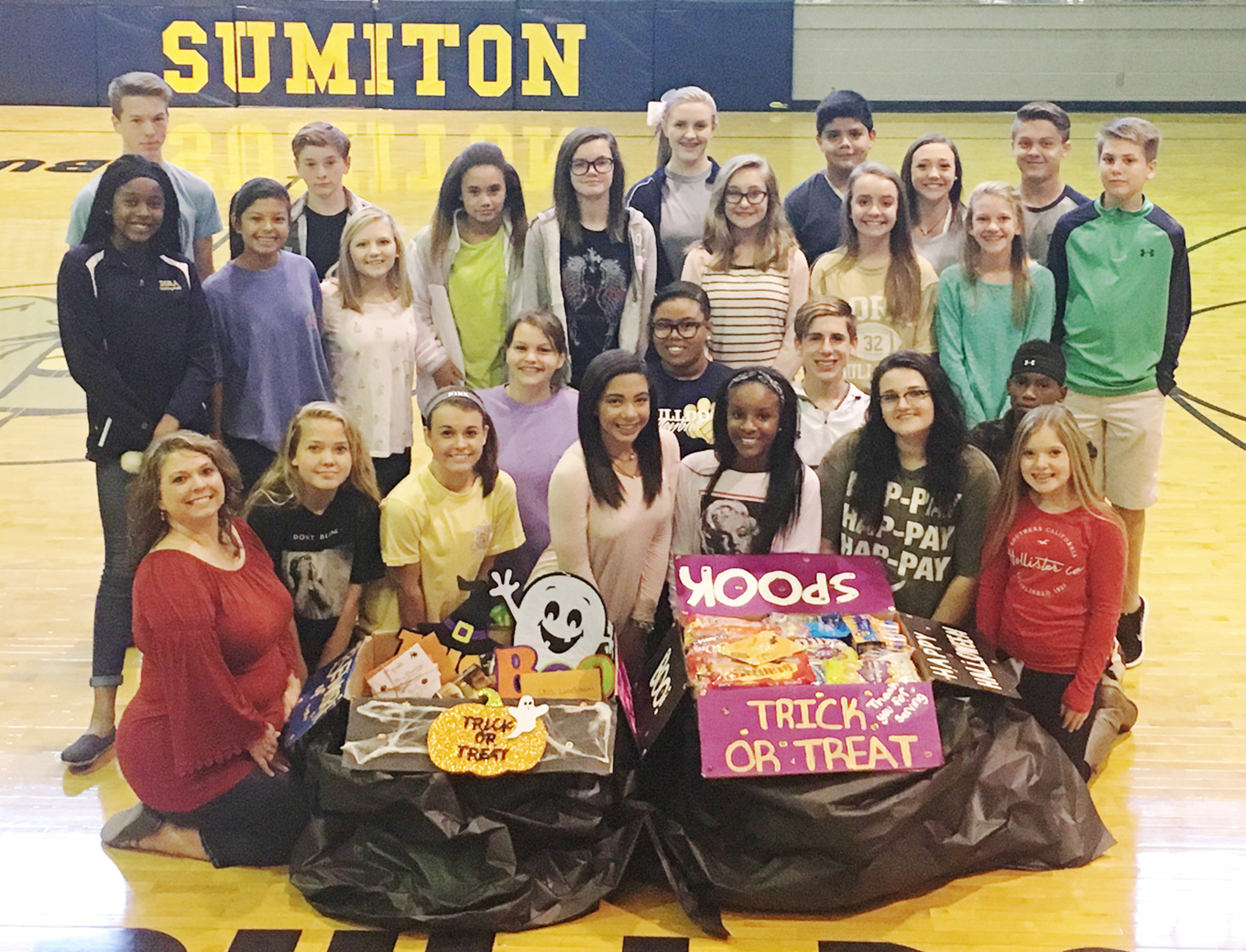 Sumiton Middle School's SGA sent care packages to Corporal Lecil Tyler Campbell, who is stationed overseas.  – Photo Special to the Eagle