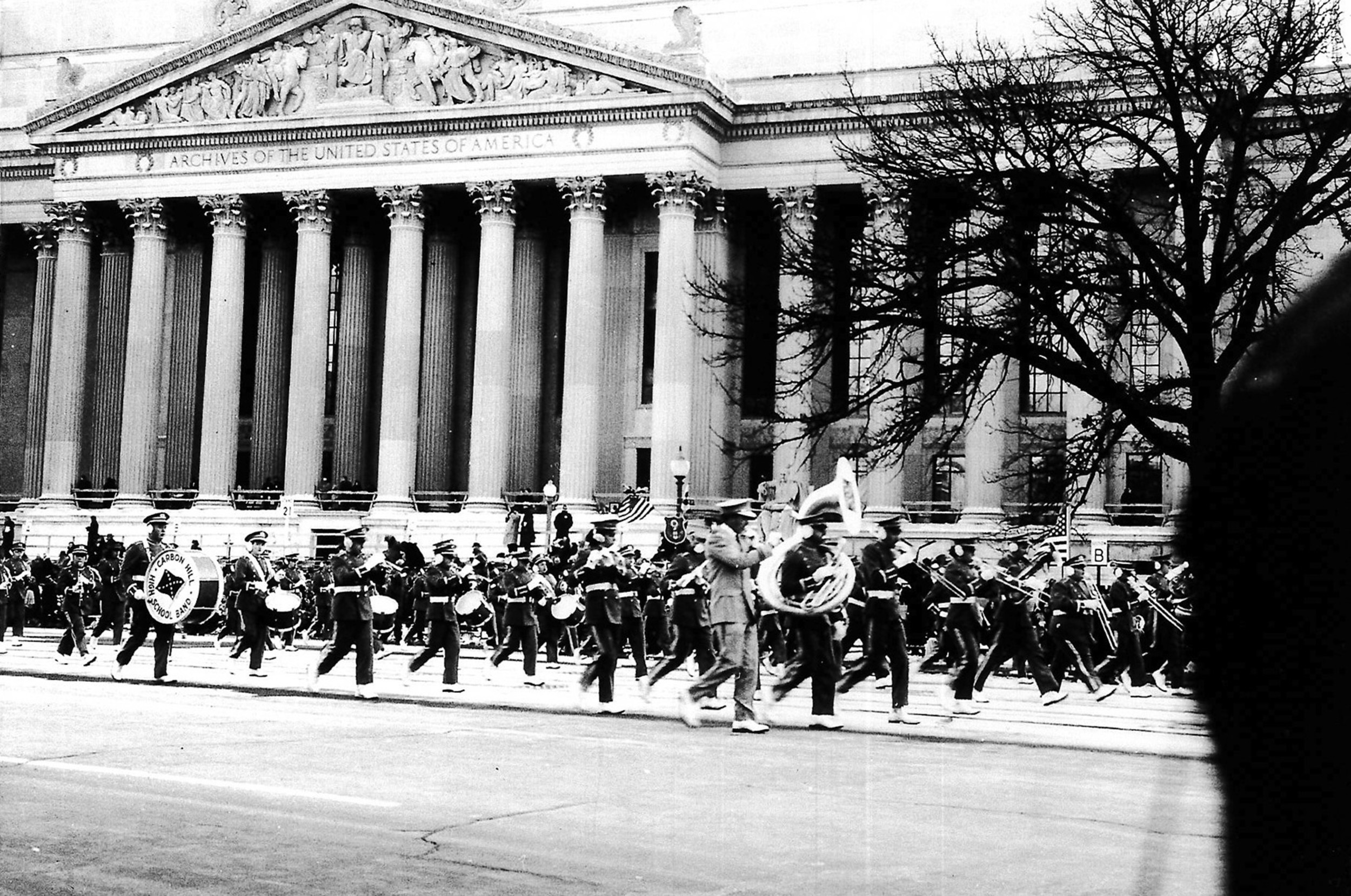 "This photo of the Carbon Hill High School Band marching at President John Kennedy's inaugural parade in 1961 is included in ""Celebrating Our Communities: Chapter 1,""  a new exhibit at the Bankhead House and Heritage Center.  –  Photo Special to the Eagle"