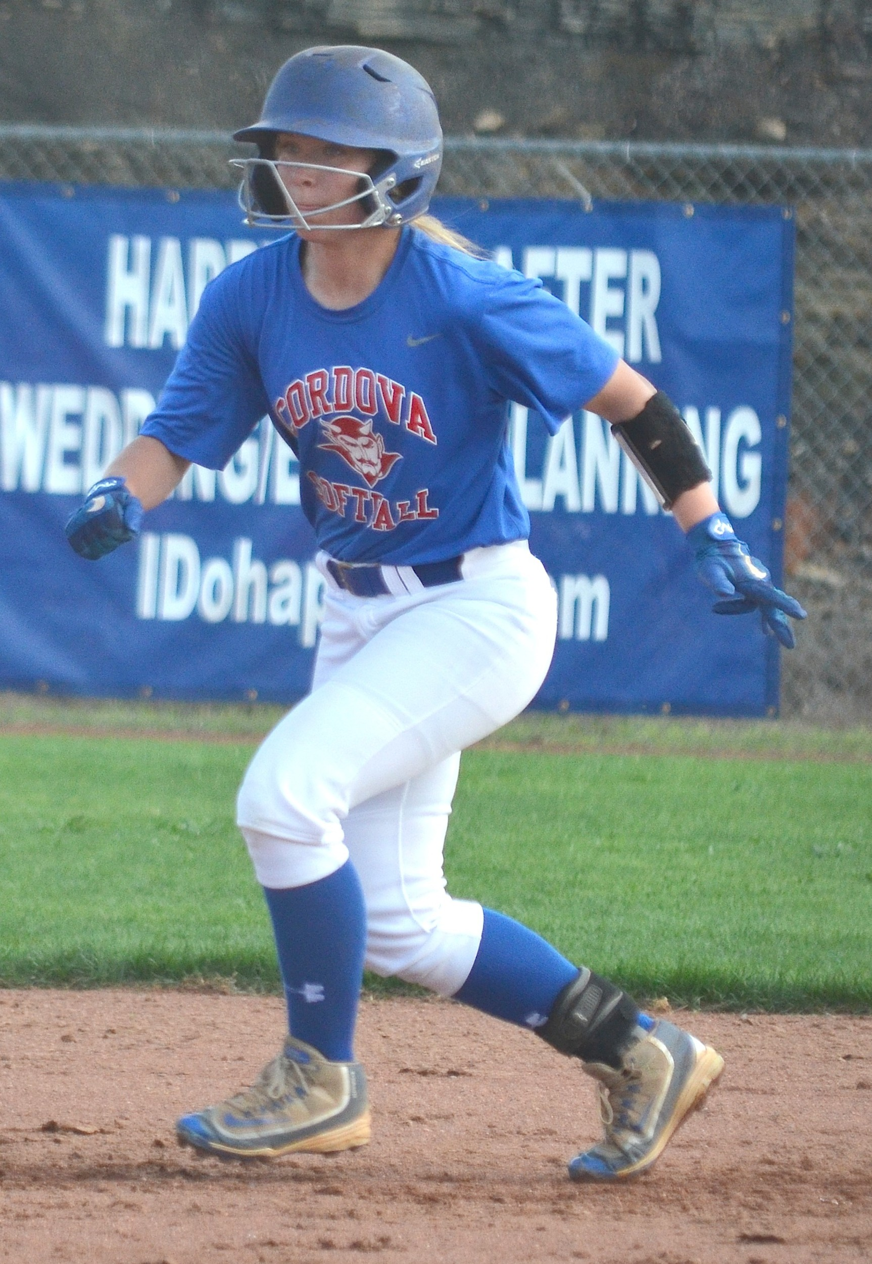 Cordova's Emma Hyche takes a lead off second base during a home game against Curry this season. The Blue Devils are heading back to the North Central Regional Tournament after a one year absence.
