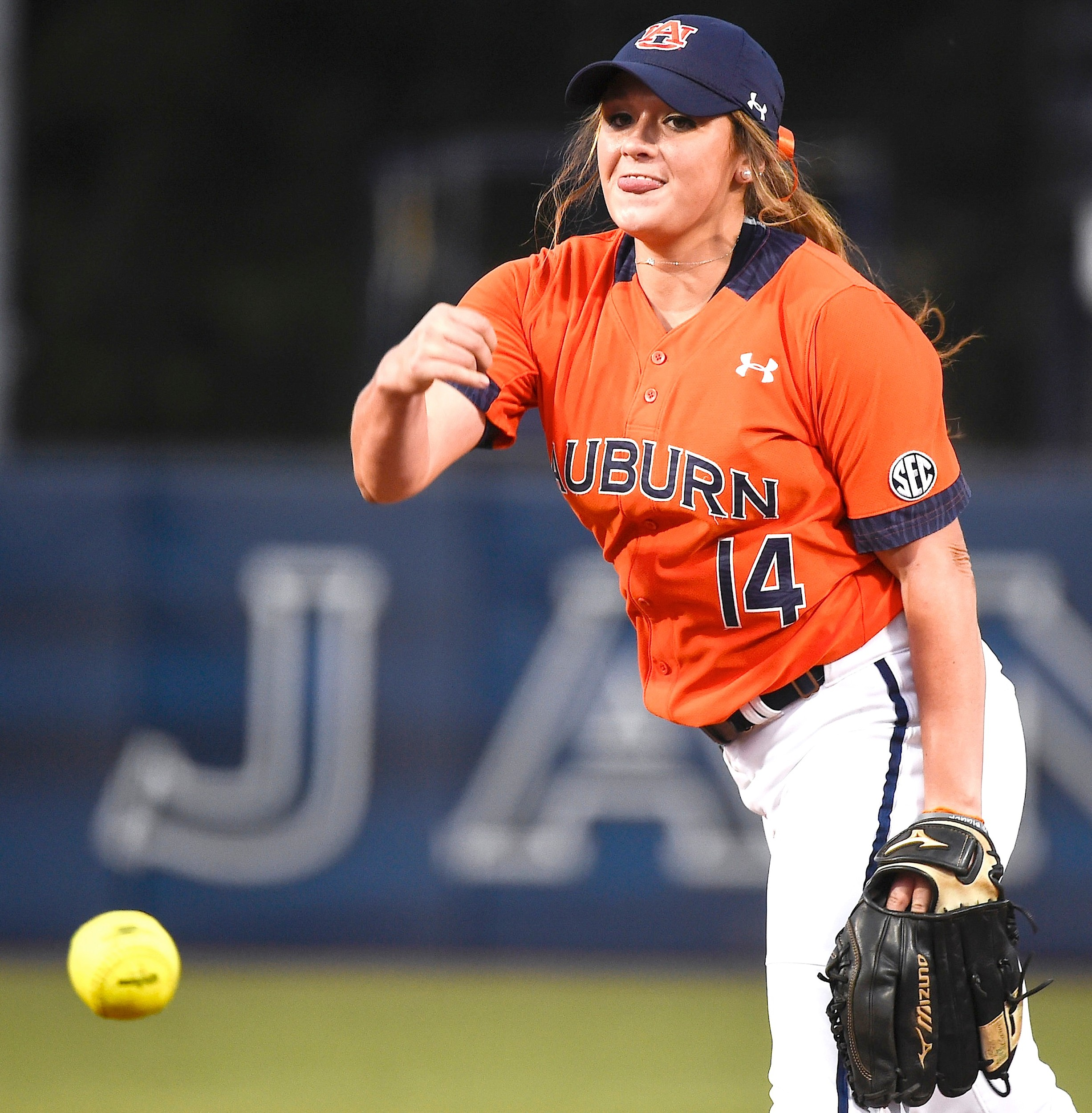 Ashlee Swindle (14) won two games in the circle for the Auburn Tigers in her freshman year. Swindle guided Curry to a pair of state championships before heading to Auburn.