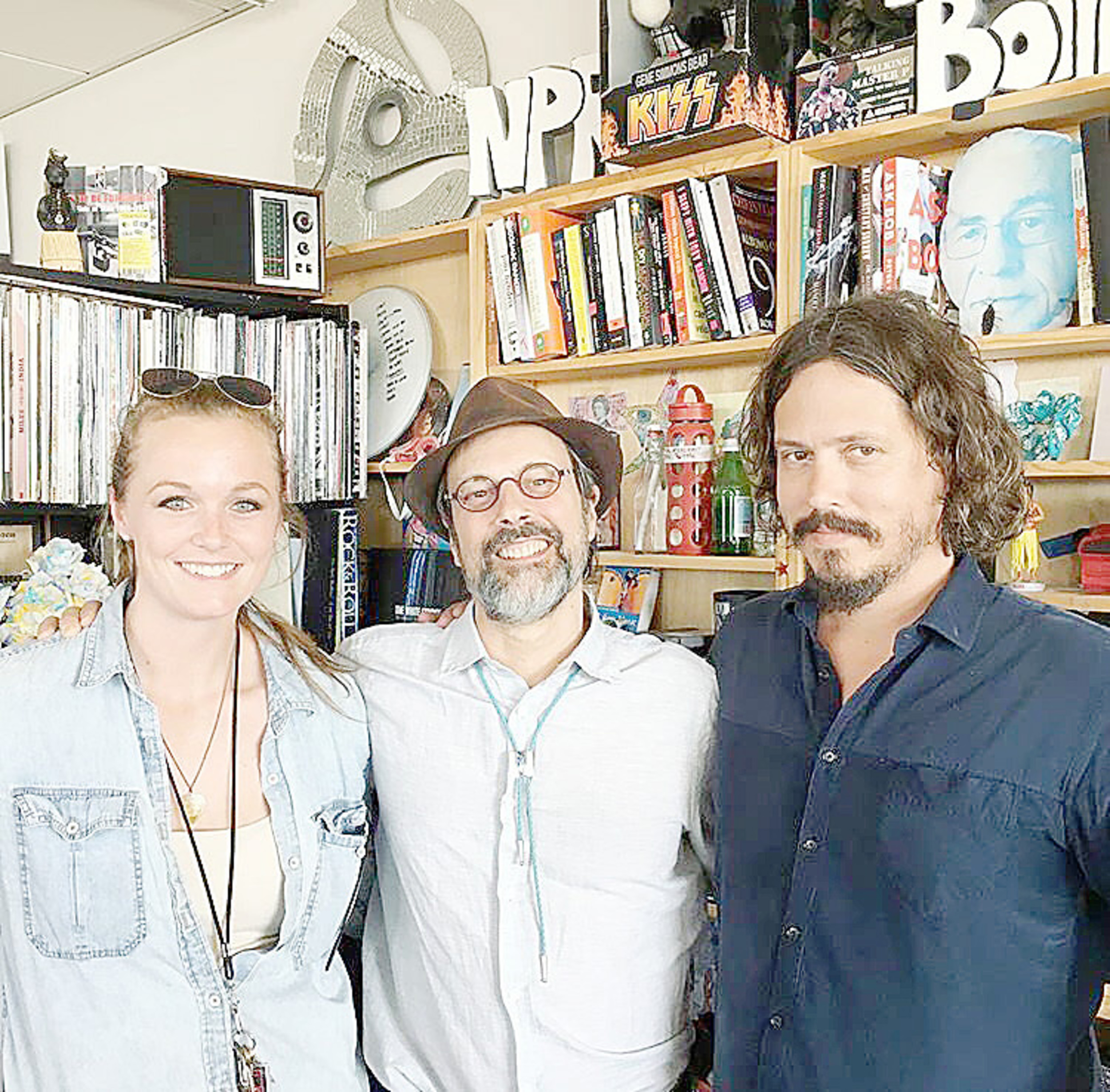 "Maggie Mitchell, left, tour manager for John Paul White, right, share a moment with Bob Boilen, host of NPR's ""All Songs Considered,"" in October 2016. White, formerly with The Civil Wars, now is on a solo tour and will perform on Sept. 16 at the Foothills Festival in downtown Jasper. Photo Special to the Eagle"