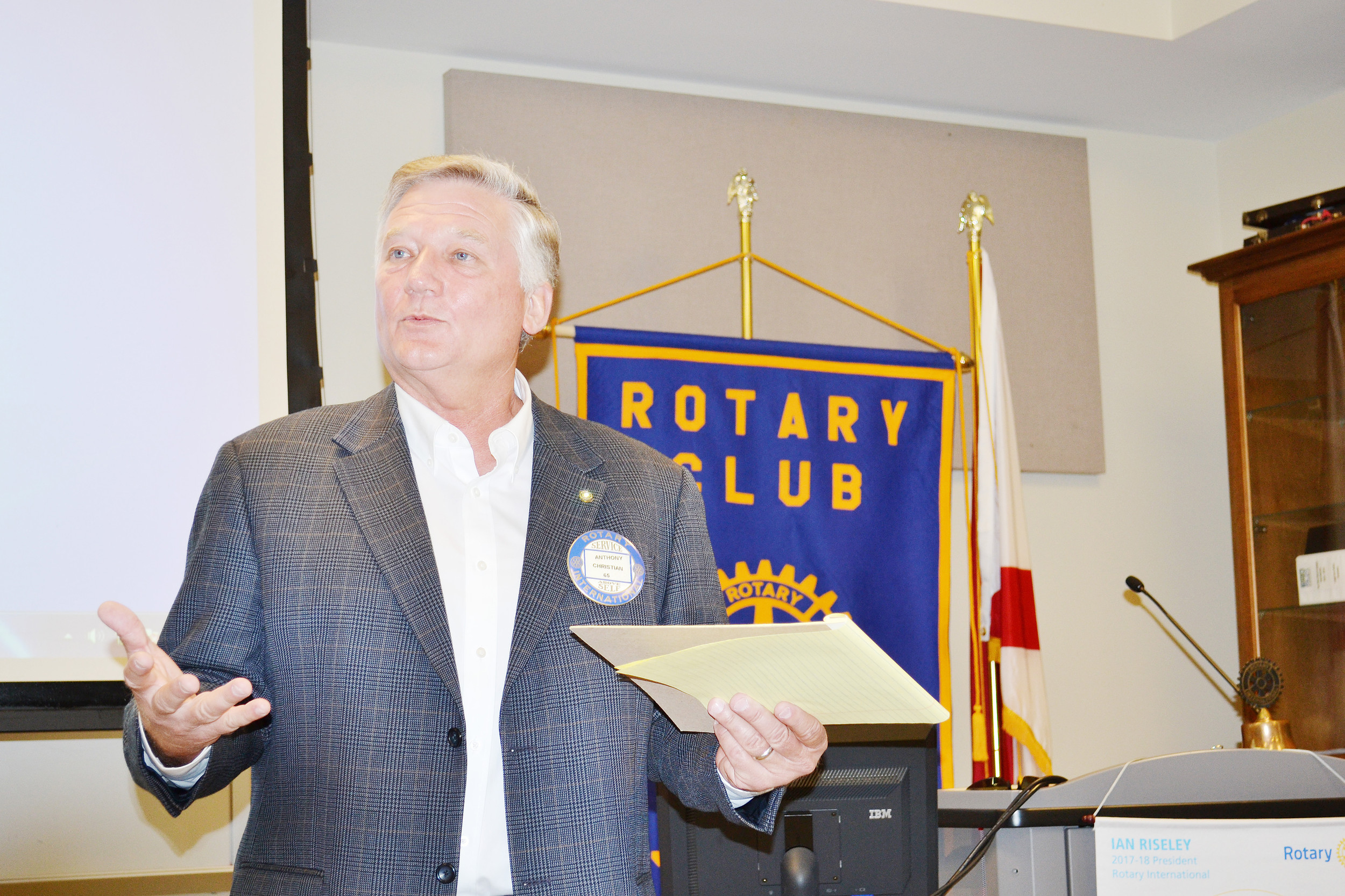 Anthony Christian, the new president of the Jasper Rotary Club, speaks to club members on Tuesday. Daily Mountain Eagle - Ed Howell