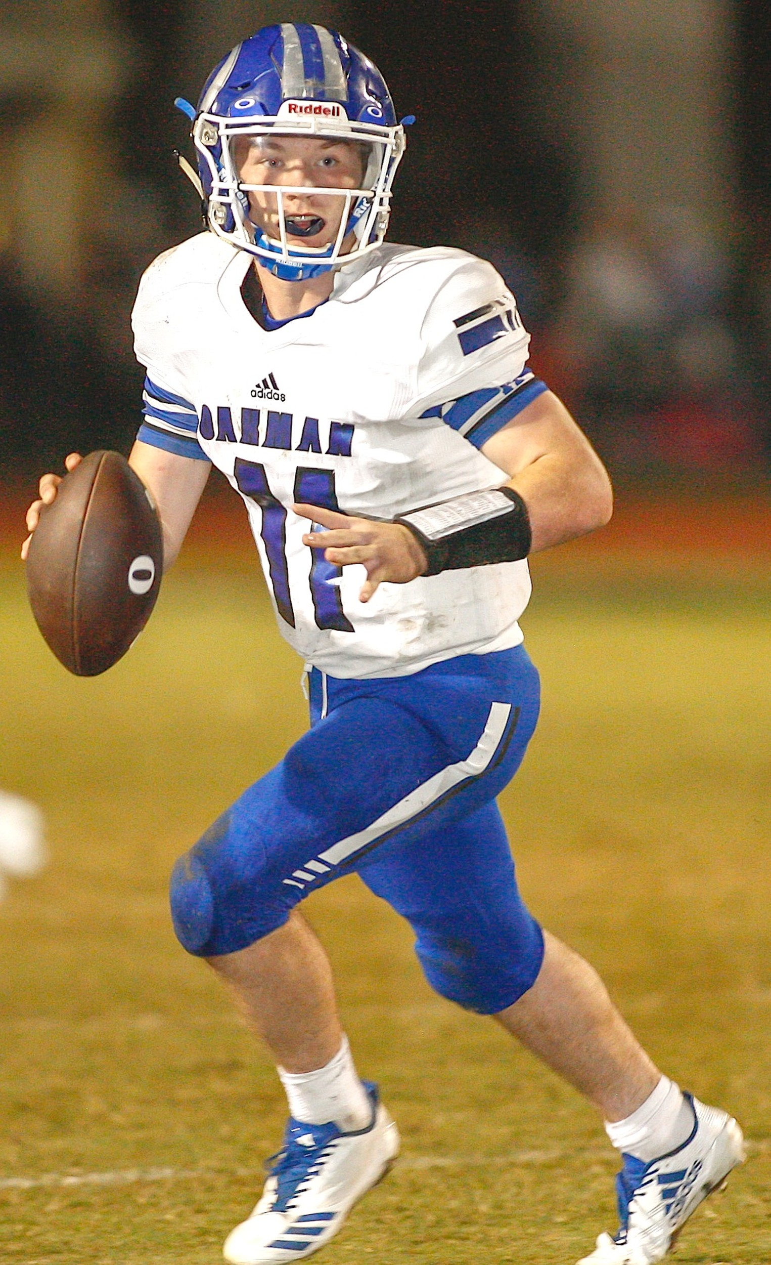 Oakman quarterback Jon Avery looks for a receiver against Corner last week. The Wildcats play at Daleville in a first-round playoff game tonight.