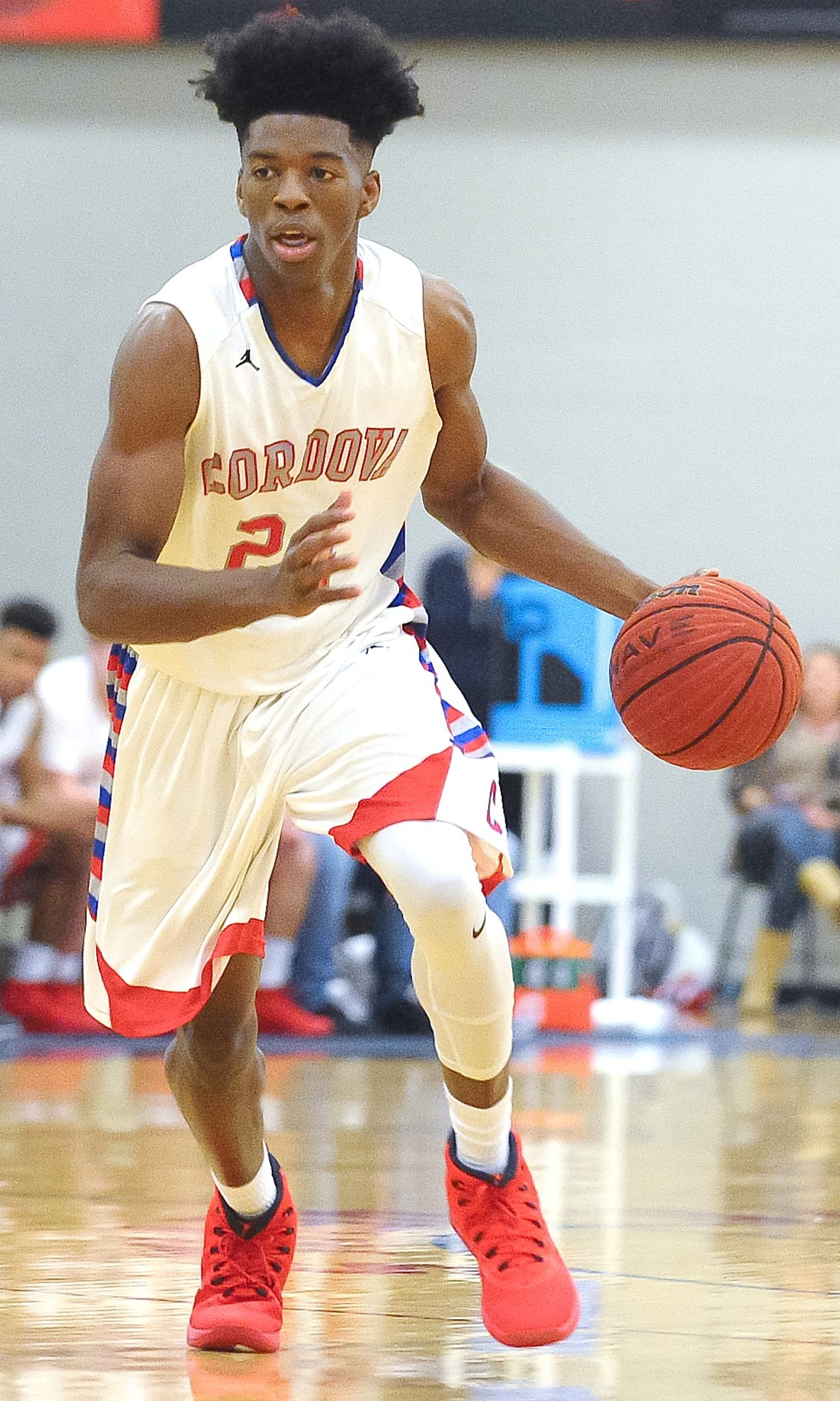 Cordova's Isaac Chatman brings the ball up the court during Tuesday's win over Dora. The Blue Devils moved up one spot to No. 3 in Class 4A in the ASWA poll released Wednesday night.