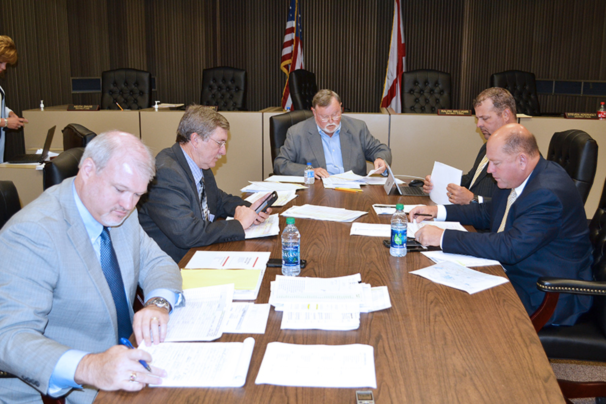 Members of the Walker County Commission are shown during a special work session Aug. 21 to discuss the financial difficulties facing the county. The work session followed a referendum that defeated a proposed one-cent sales tax.