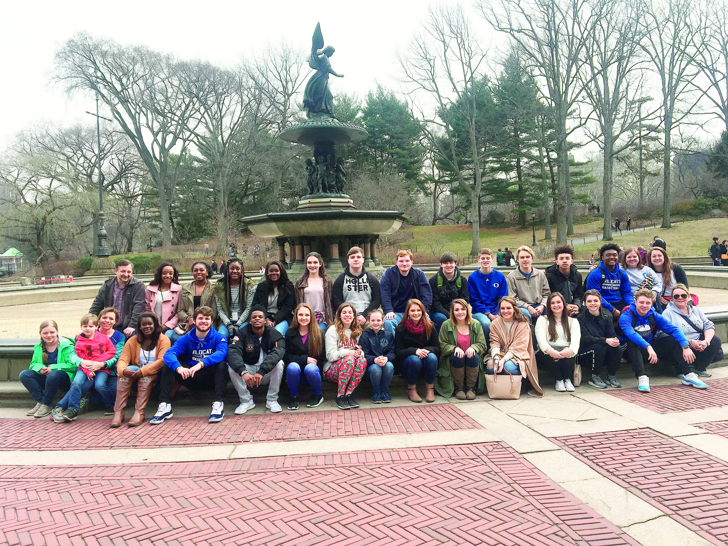 Oakman High School's SGA students visited Central Park in New York last week, along with many other landmarks. Pictured behind students is the Bethesda Fountain.