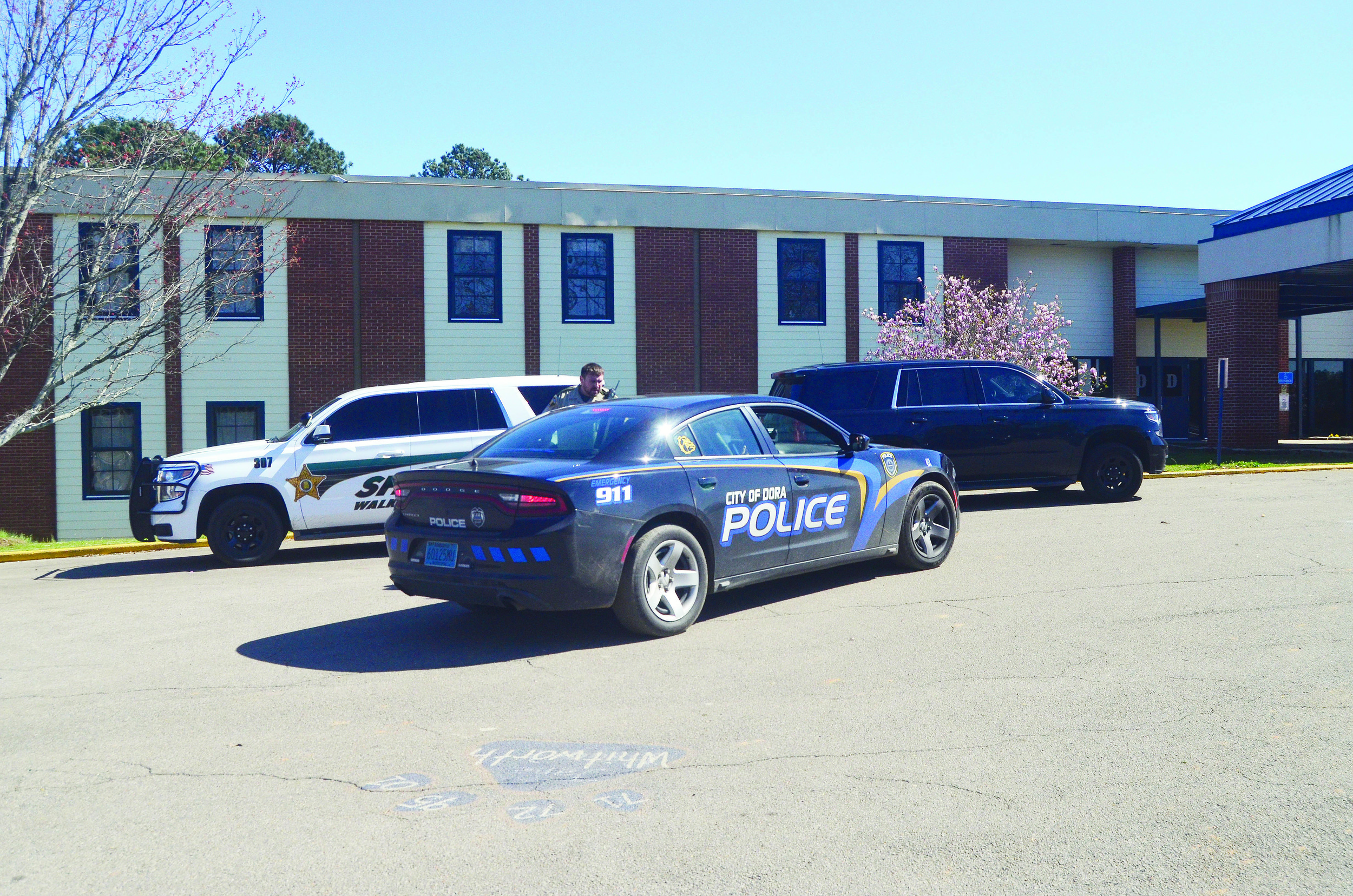 Schools in East Walker were placed on lockdown Thursday afternoon. Members of the Dora Police Department and Walker County Sheriff's Office patrolled the outside of Dora High School.