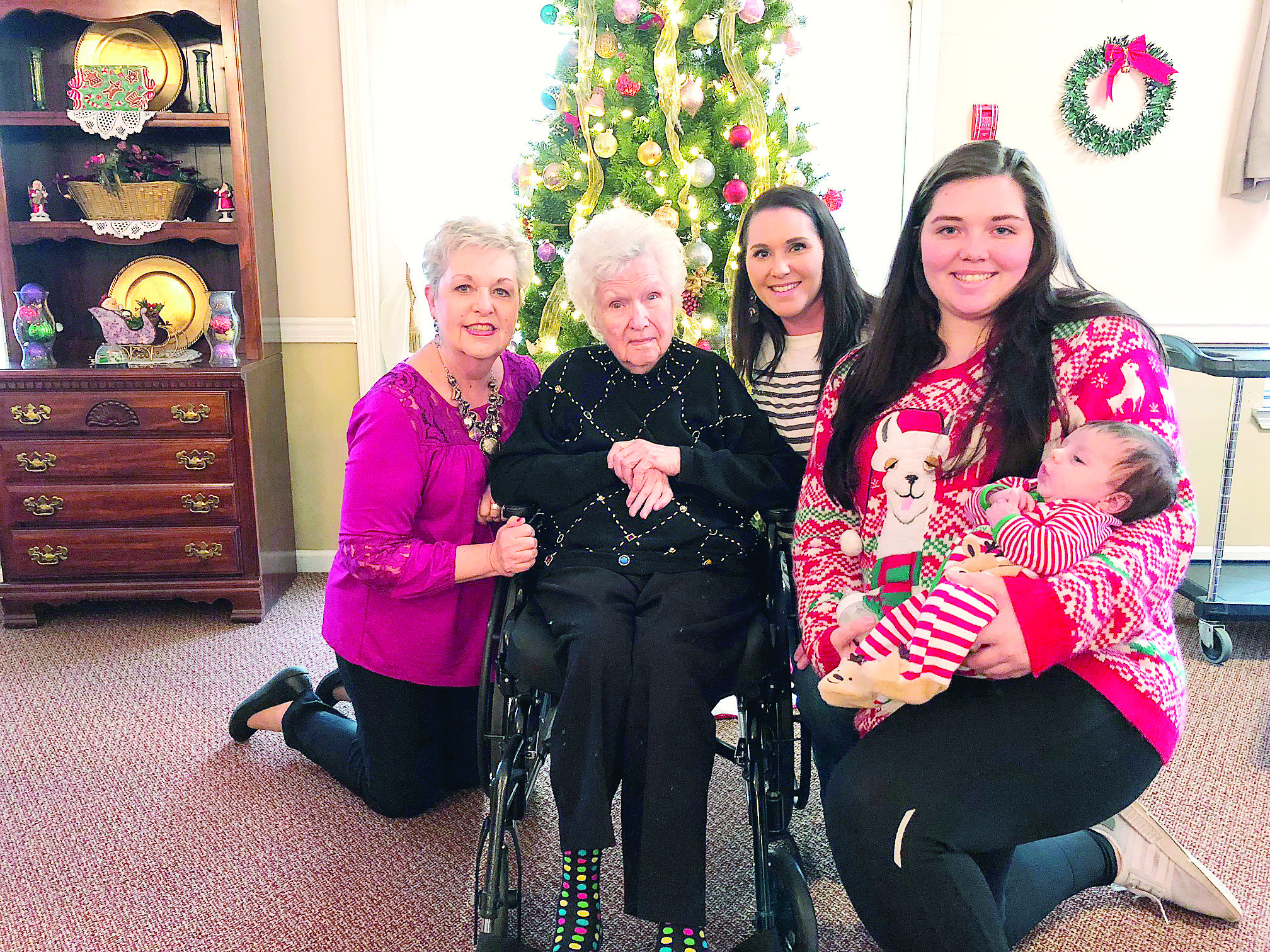 Deatrice Boyd of Gardendale, who will turn 98 years young in June, is also celebrating five generations of her family. Boyd (second from left) is pictured above with her daughter, Delores Boyd Tuck of Jasper, and granddaughter, Rachel Forbes, great-granddaughter, Hannah Gray, and great-great-grandson, Matthew Gray, all of Auburn.