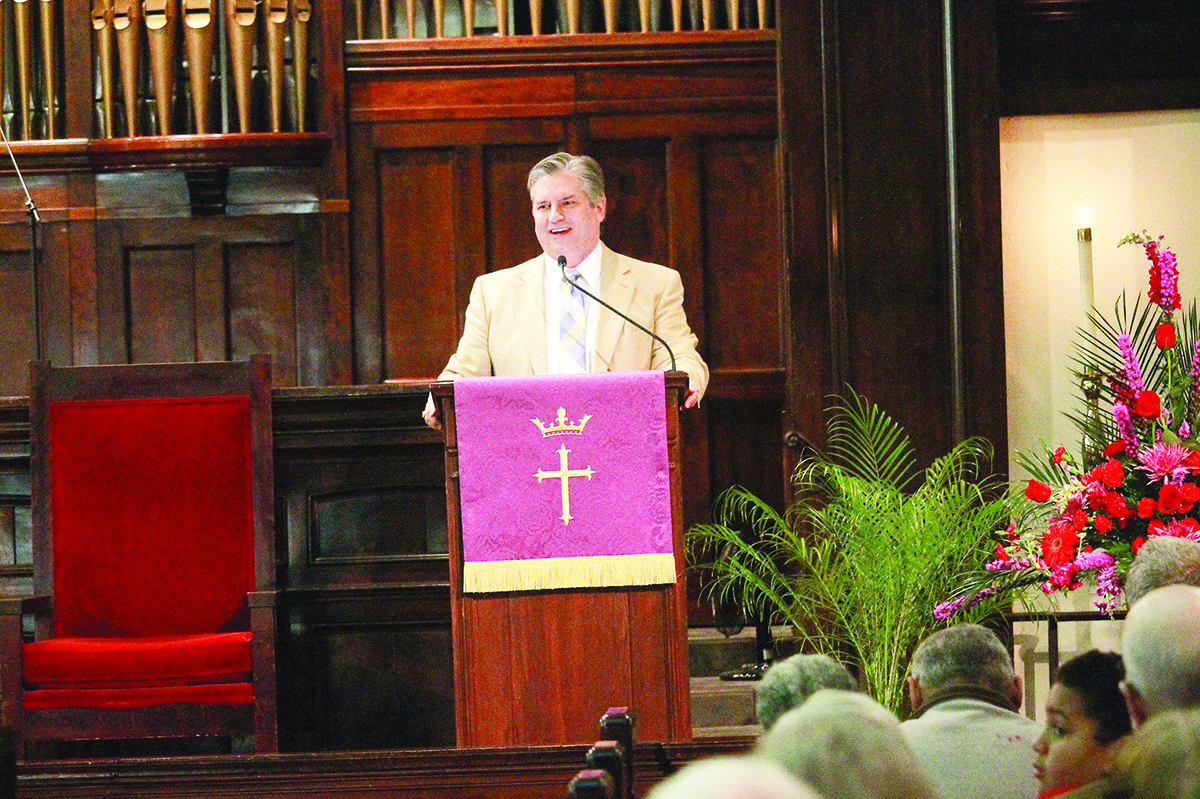 Dr. Lloyd Stilley, pastor of Jasper First Baptist Church, speaks at Monday's Holy Week service at First United Methodist Church.