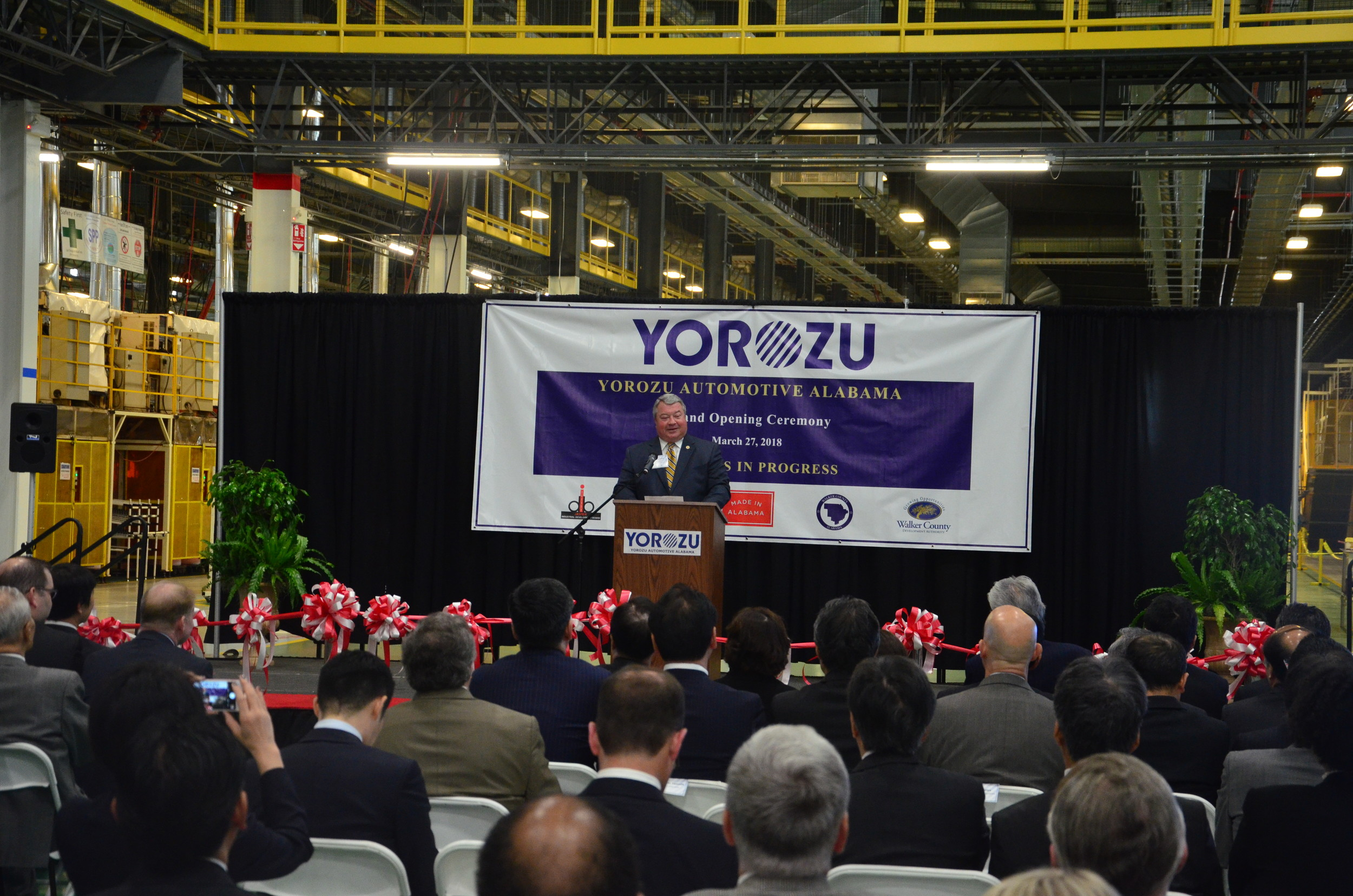 Alabama Secretary of Commerce Greg Canfield speaks at the Yorozu grand opening Tuesday in Jasper.