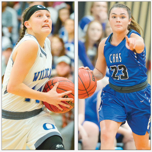 Oakman's Heather Thompson, left, and Carbon Hill's Molly Kate Atkins, right, are the Daily Mountain Eagle's Girls Co-Players of the Year for the 2017-18 basketball season. Thompson led Oakman to its first Walker County Tournament championship in more than a decade while Atkins guided the Bulldogs to the Northwest Regional Tournament.