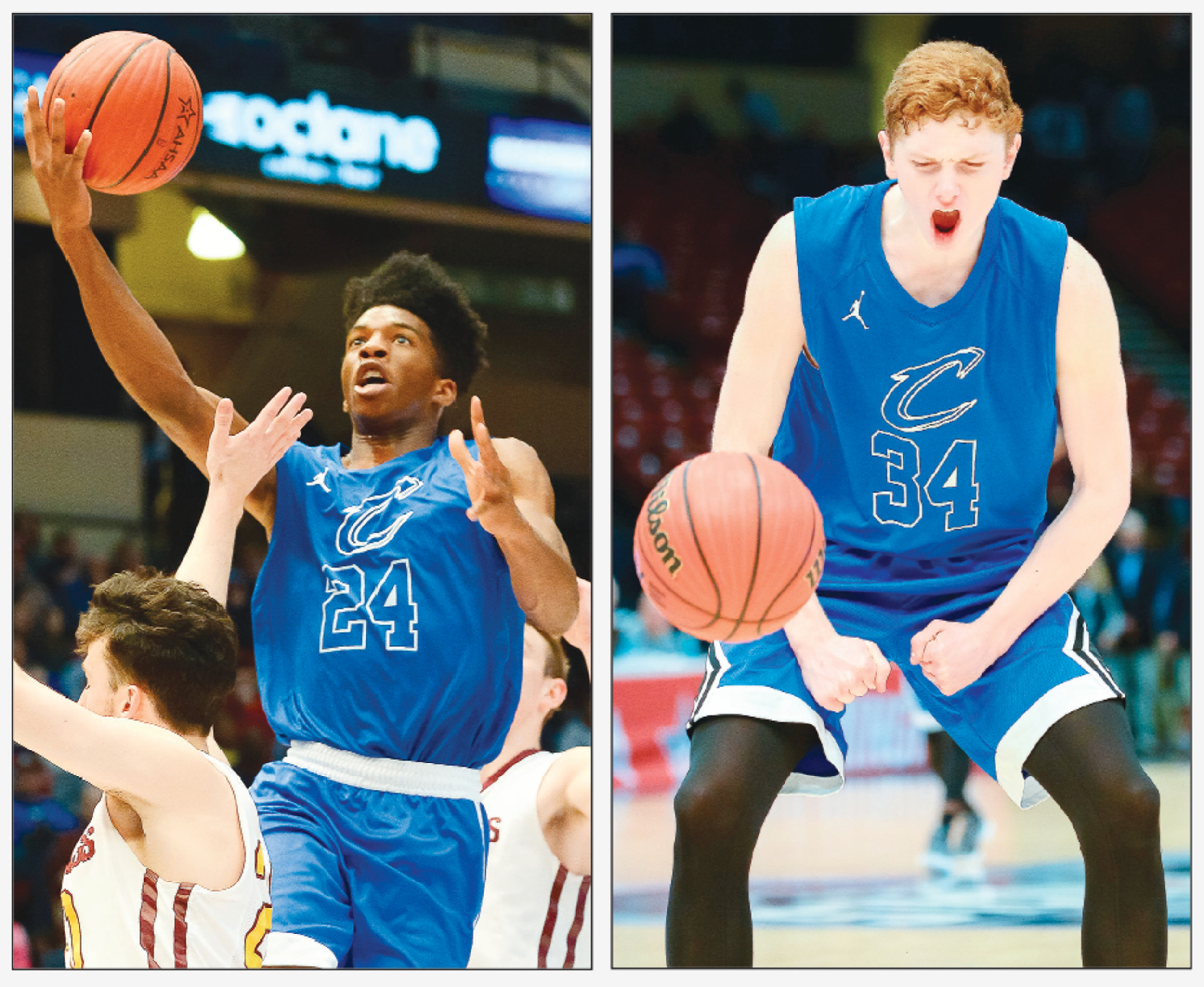 Cordova's Isaac Chatman, left, and Jayce Willingham, right, led the Blue Devils to the school's first ever state basketball championship last month at the BJCC.