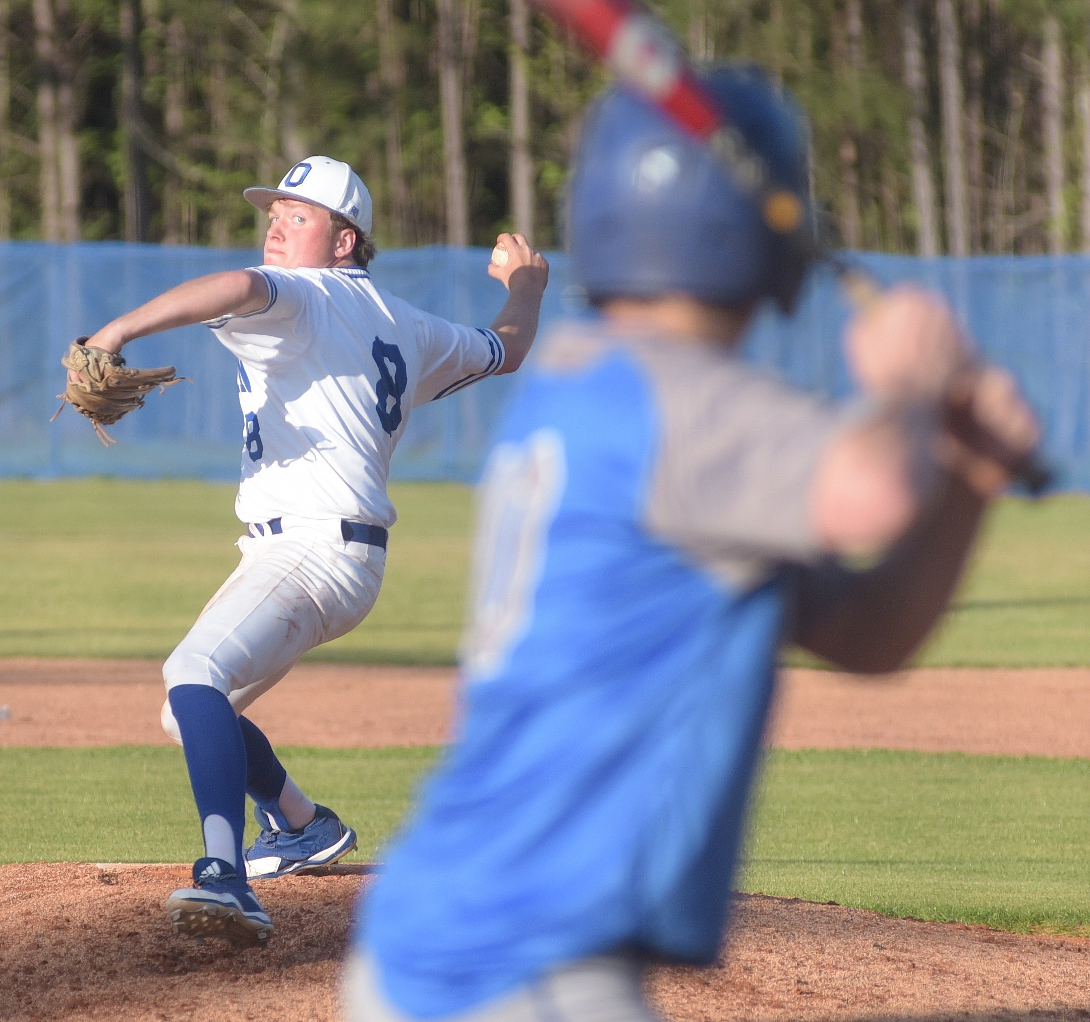 Oakman's JonDawson Tittle pitches against Carbon Hill on Tuesday. The Wildcats closed out area play with a perfect 6-0 record after winning the opener 7-5. Oakman will host a first-round playoff series next Friday.