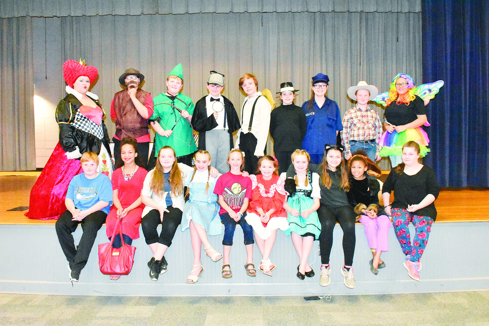 "The cast of ""The Enchanted Bookshop"" gather for a group photo Tuesday as the Carbon Hill Jr. High Drama Club began rehearsals that day for Thursday night's performance at Carbon Hill Elementary/Jr. High."