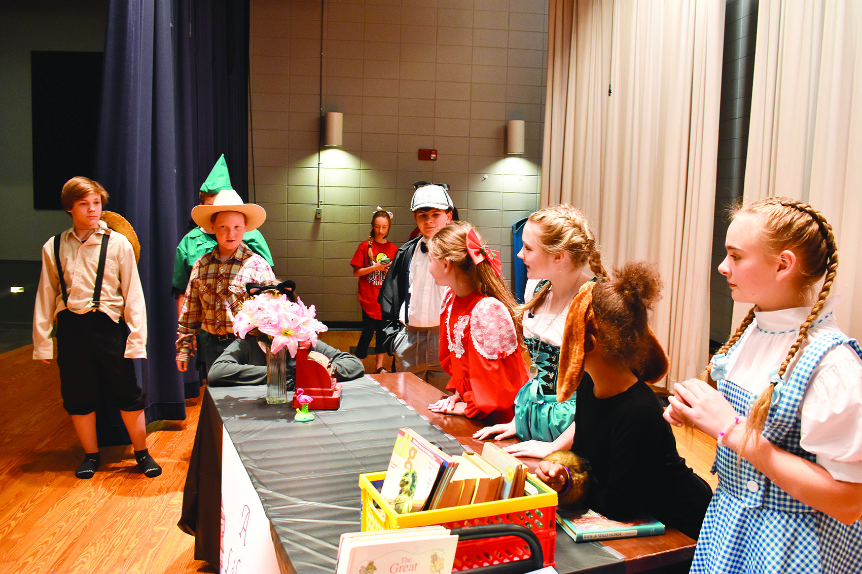 "A climatic scene in ""The Enchanted Bookshop"" is rehearsed on Thursday at Carbon Hill Elementary/Jr. High School. The play will be presented at the school Thursday night by the Carbon Hill Jr. High Drama Club."