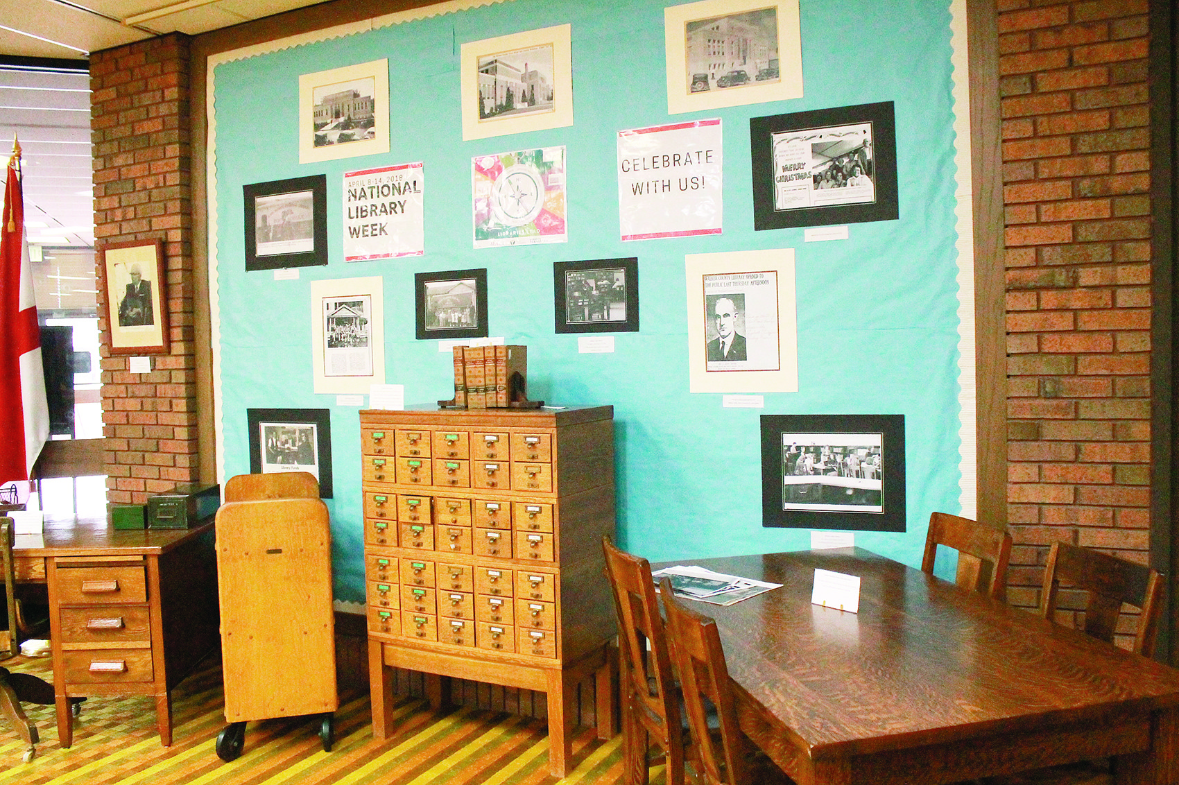 The Jasper Public Library has several historical artifacts on display through the end of the month. The display includes a complete card catalog, which was discontinued after the library moved to a digital catalog in 2009, and a desk used by former Walker County Library and Carl Elliott Regional Library System director Elizabeth Wiggins.