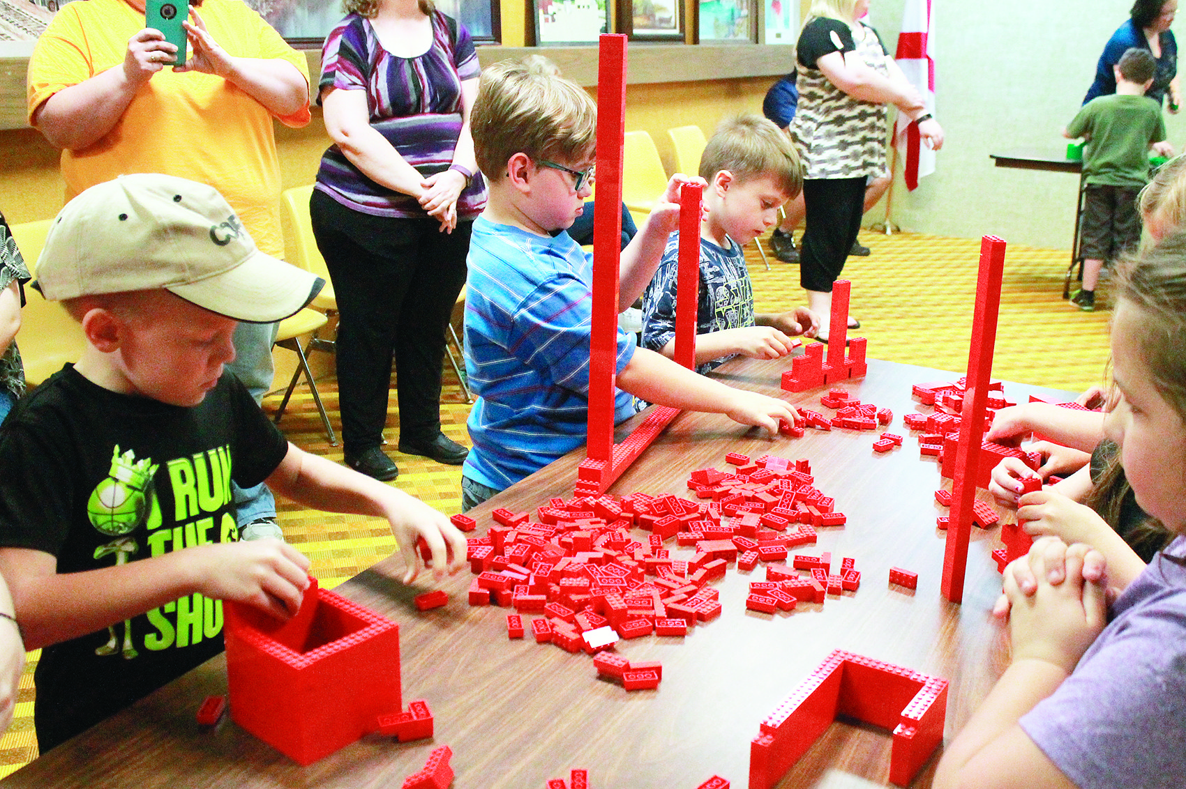 The Jasper Public Library hosted a LEGO building activity with Peter Bradberry of Magic City LEGO Users Group on Thursday afternoon. Participants used LEGOs to build bridges and tall buildings. The event was part of National Library Week.