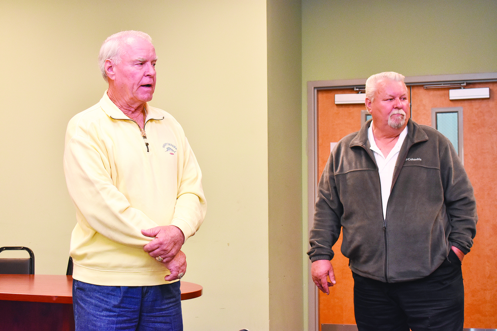 Maeburn Naramore, left, and his brother, Donnie, speak at Thursday's Carbon Hill Council meeting about the truck stop they are opening this summer off U.S. Interstate 22, off Exit 46.