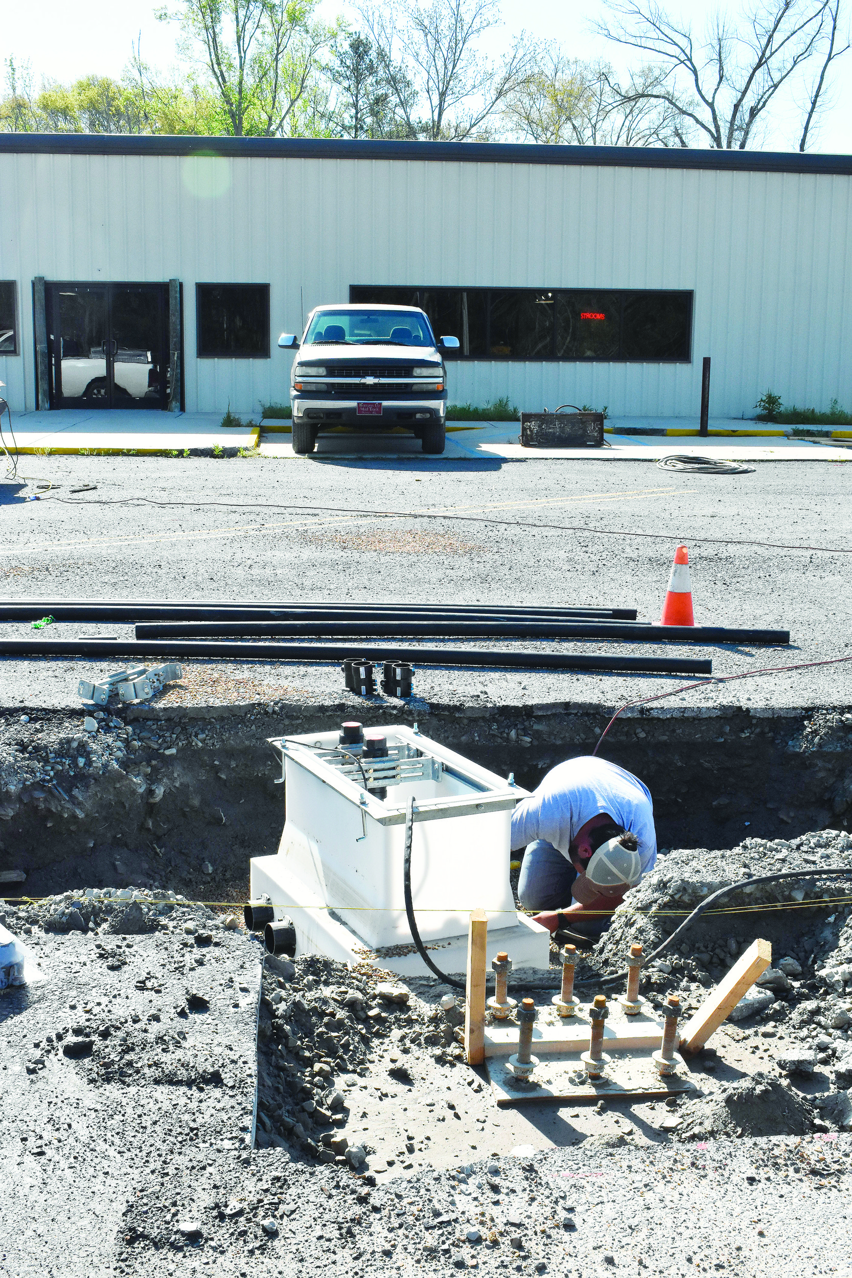 Workers this week do work on the outside of a new Chevron truck stop that will be opening this summer off Exit 46 of U.S. Interstate 22 in Carbon Hill.