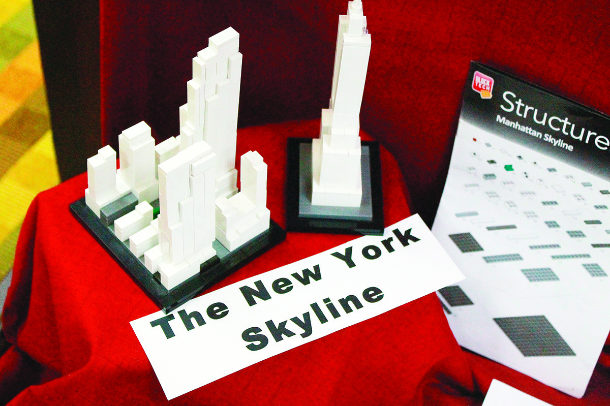 Rockefeller Center and the Empire State Building are two of the architectural LEGO sets on display at Jasper Public Library.