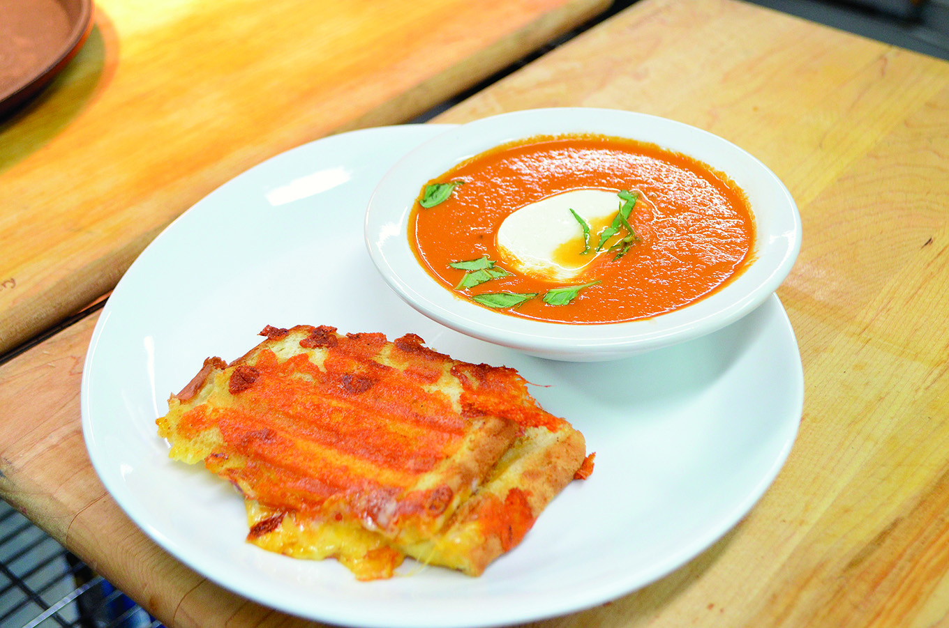 Five Loaves Bakery will offer homemade soups and sandwiches. Pictured is tomato soup with a grilled cheese sandwich.