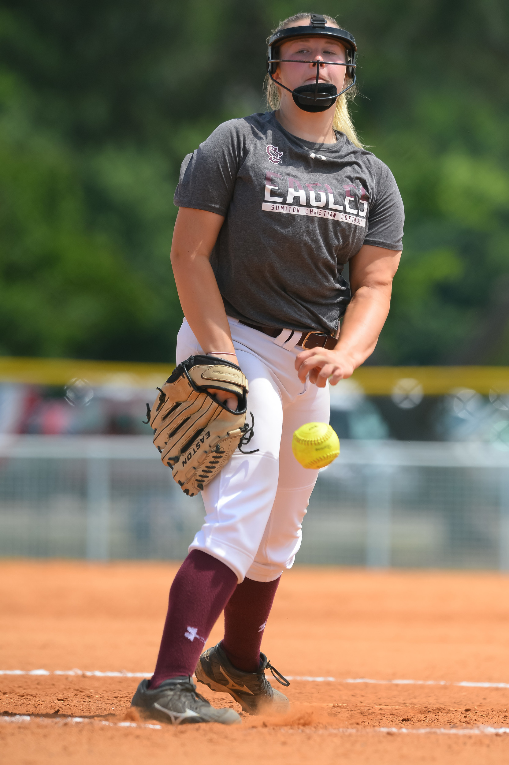 Sumiton Christian's Anna Calloway throws a pitch against Brantley at the State Softball Tournament on Thursday. The Eagles finished second to the Bulldogs, falling 5-1 in the championship game.