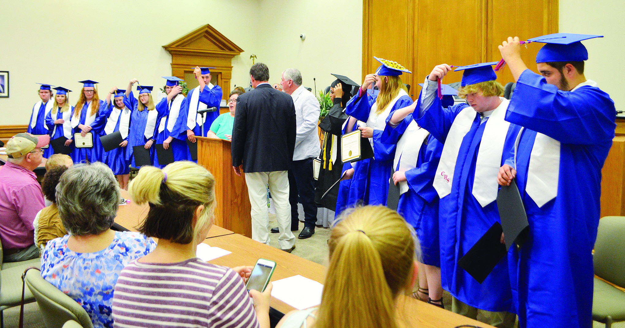 Graduates of the 2018 Hope and Twilight program turn their tassels at a graduation ceremony at the Walker County Board of Education Thursday.