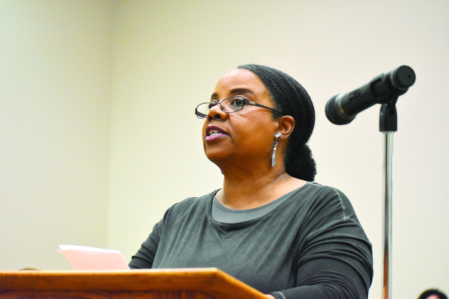 Brenda Dawson speaks to the Walker County Board of Education Thursday about board-owned land next to the Saint Mark AME Church in Dora that the church wanted to lease.