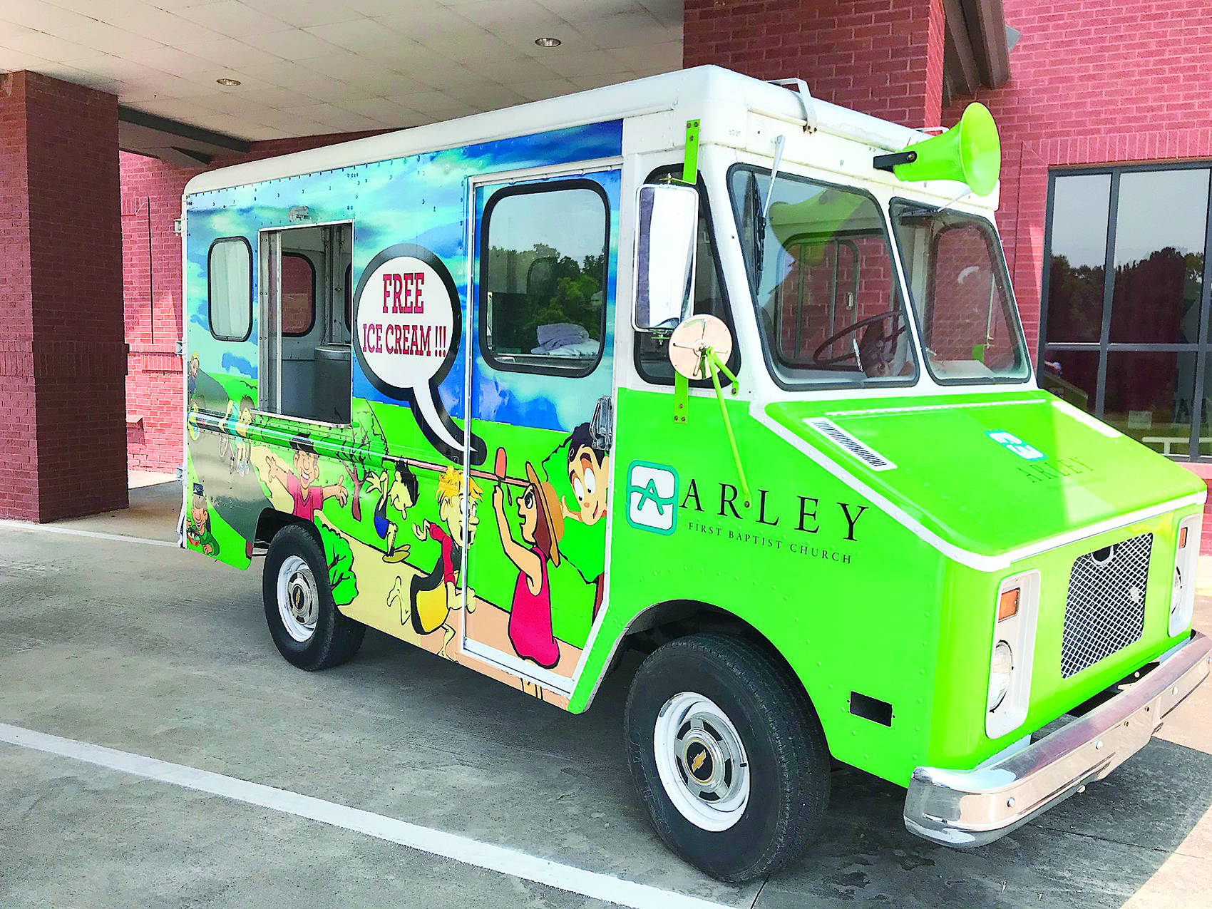 The Arley First Baptist Church's new Ice Cream Truck Ministry is now cruising through the Arley neighborhoods offering free ice cream to young and old alike in the name of Jesus.