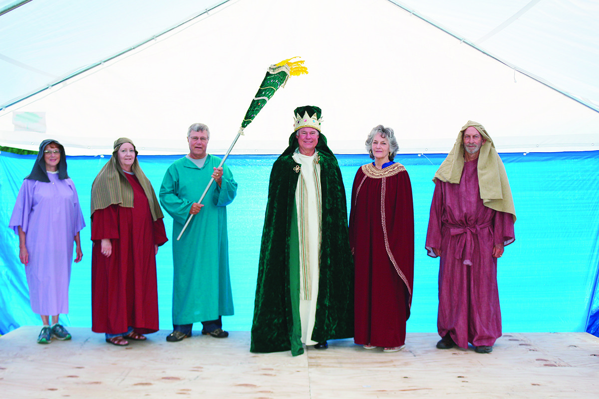 Members of the Mount Vernon Baptist Church Adult Drama Team will be performing during the church's vacation bible school being held Monday - Friday, June 18-22, from 8:30 until 11:30 a.m. at the church. From left to right are Mother of a Prophet/Teacher played by Mary Cordes; Mary Magdalene/Story Telller played by Sharon Bowie; Lawyer/Mr. Sycamore played by Richard Bowie; King/Sam Spade played by Richard Reneau; Queen/Reporter played Sharon Reneau; and a Farmer/Beggar/Good Samartian played by Terry Lane.