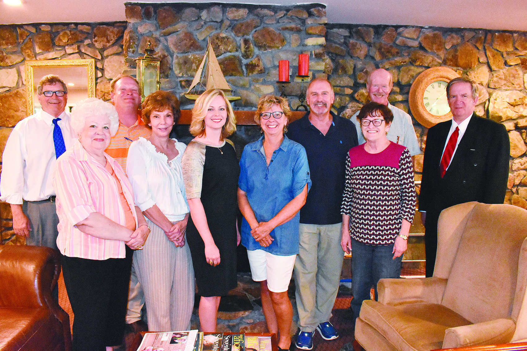 The Winston County Arts Council received $5,000 from the Alabama Bicentennial Commission, which is mostly being used for bicentennial-themed Christmas ornaments that will be made by school children across Winston County. Among the arts council members celebrating the grant at their June 25 meeting at Lakeshore Inn in Double Springs are, from left, state Rep. Tim Wadsworth, Shirley Sudduth, Winston County Commissioner David Cummings, Blythe Welton, Meek High School Principal Marla Murrah, Susan Ripp, Joe Towey, Sandra Heaven, arts council treasurer Larry Welton and chairman J.D. Snoddy.
